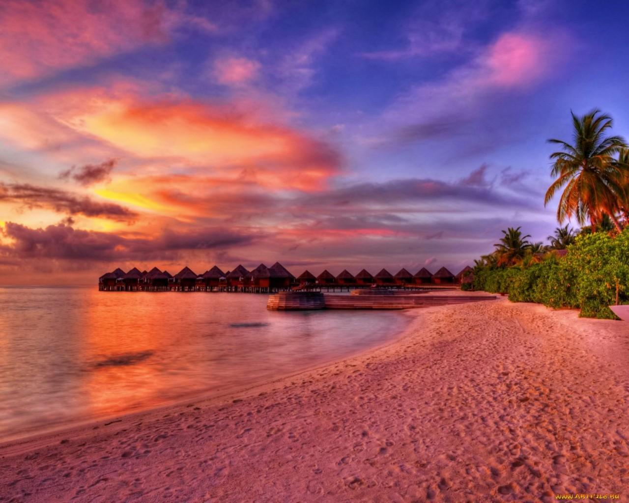 16690 скачать обои Пейзаж, Закат, Море, Пляж, Пальмы - заставки и картинки бесплатно