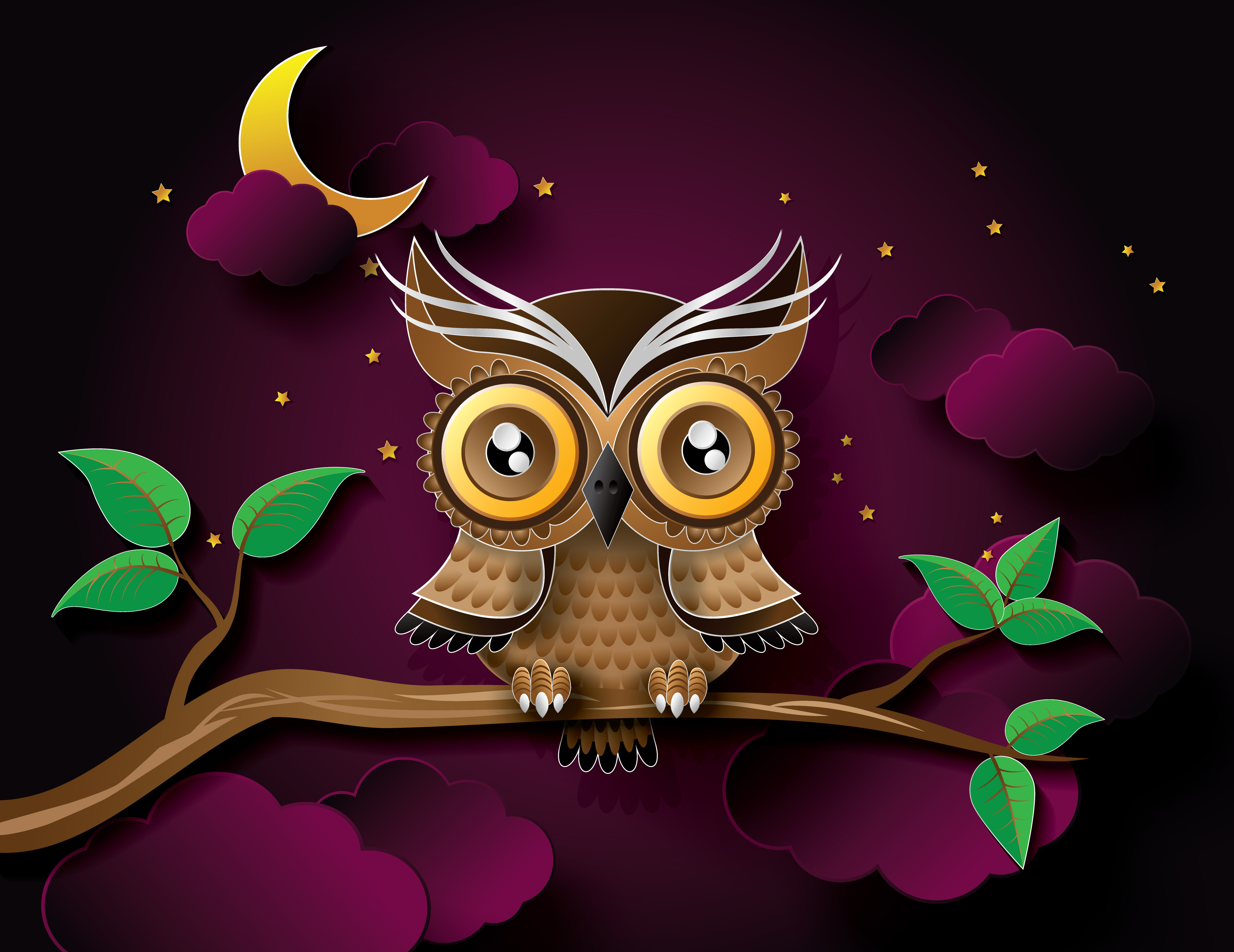 54020 download wallpaper Art, Owl, Vector, Bird, Branch screensavers and pictures for free