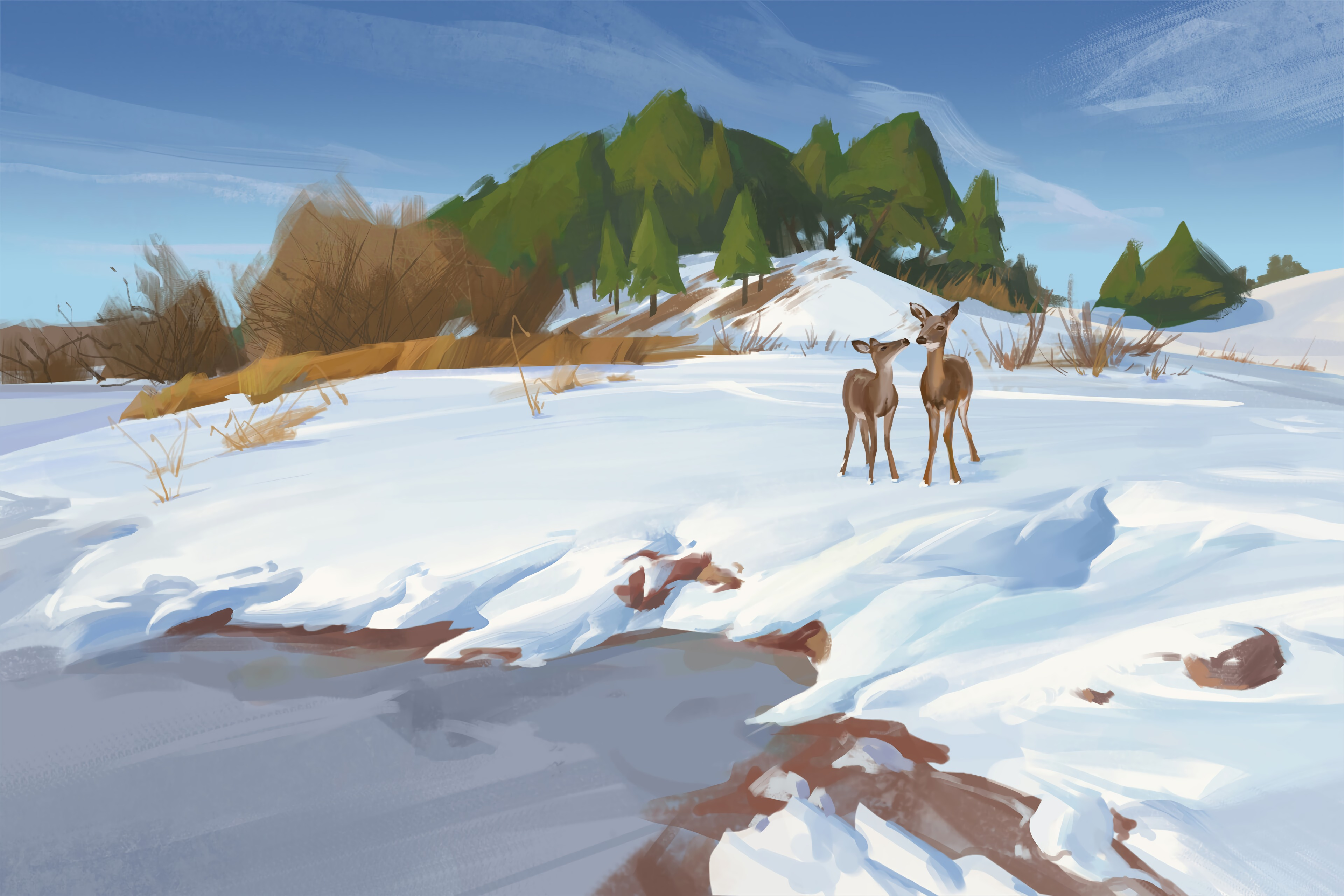 86314 download wallpaper Deers, Shore, Bank, Snow, Winter, Wildlife, Art screensavers and pictures for free