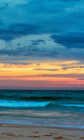 121105 скачать обои Природа, Море, Пляж, Облака, Закат, Волны, Пейзаж - заставки и картинки бесплатно
