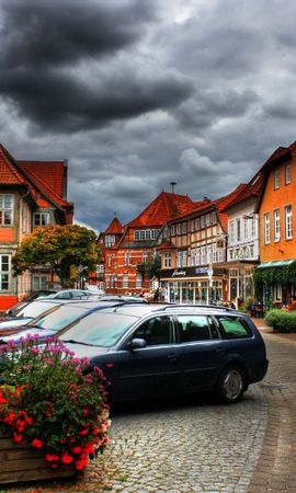 120232 download wallpaper City, Sky, Clouds, Car, Machine, Houses, Plants, Cities, Flowers screensavers and pictures for free