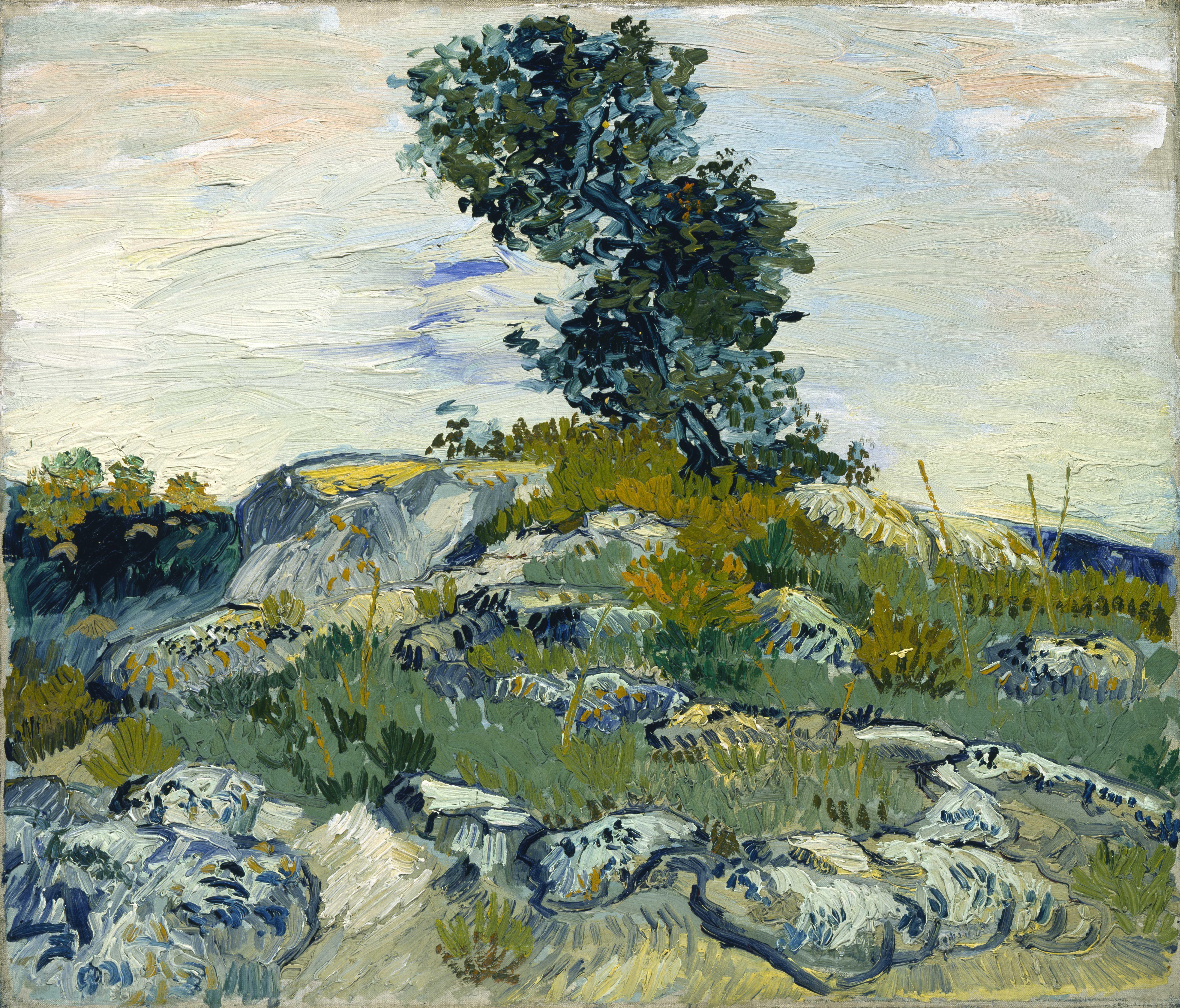 125247 télécharger le fond d'écran Nature, Vincent Van Gogh, Rochers Et Chêne, Rochers Et Chênes, Toile, Beurre, Huile, Paysage - économiseurs d'écran et images gratuitement