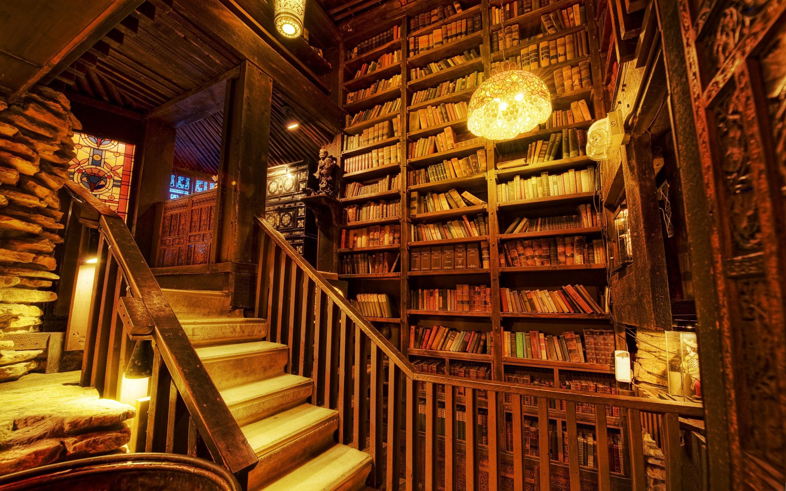 98868 Screensavers and Wallpapers Room for phone. Download Miscellanea, Miscellaneous, Library, Stairs, Ladder, Premises, Room, Light Coloured, Light, Wood, Wooden pictures for free