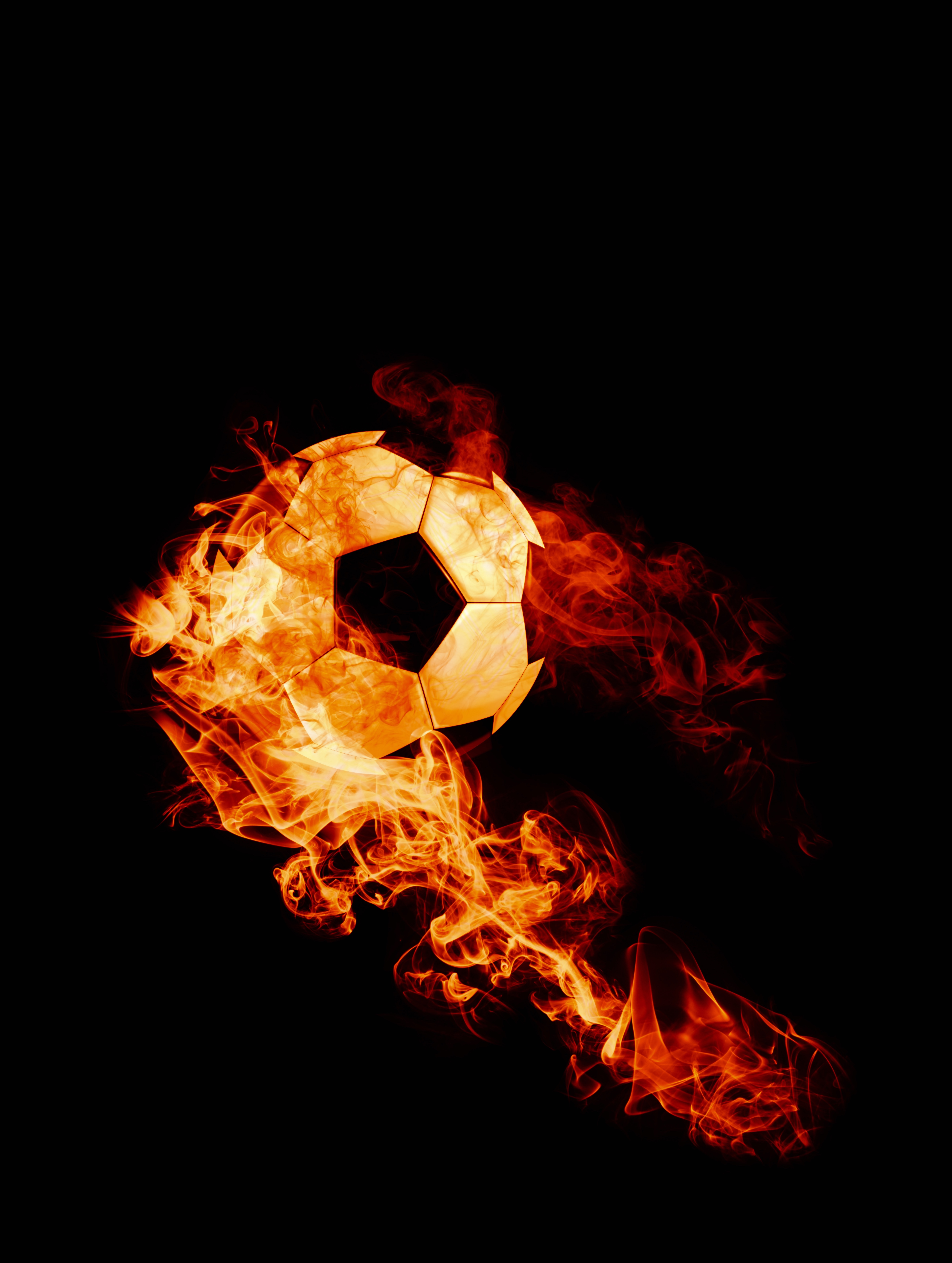 149311 download wallpaper Sports, Ball, Fire, Football, Dark Background, Flame screensavers and pictures for free