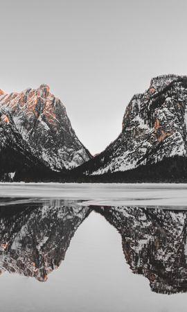 156423 скачать обои Природа, Озеро, Снег, Отражение, Горы, Пейзаж - заставки и картинки бесплатно