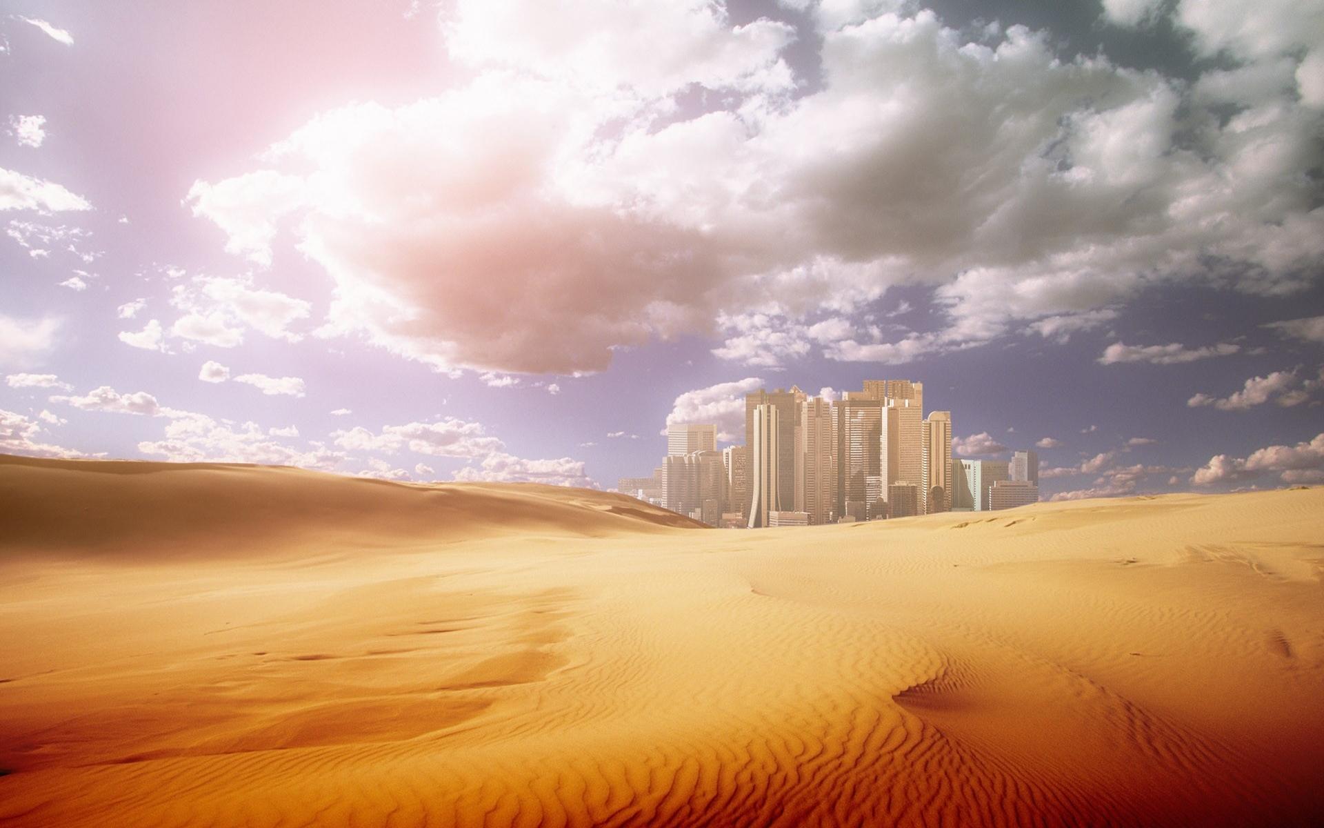 1446 скачать обои Пейзаж, Города, Небо, Арт, Пустыня - заставки и картинки бесплатно