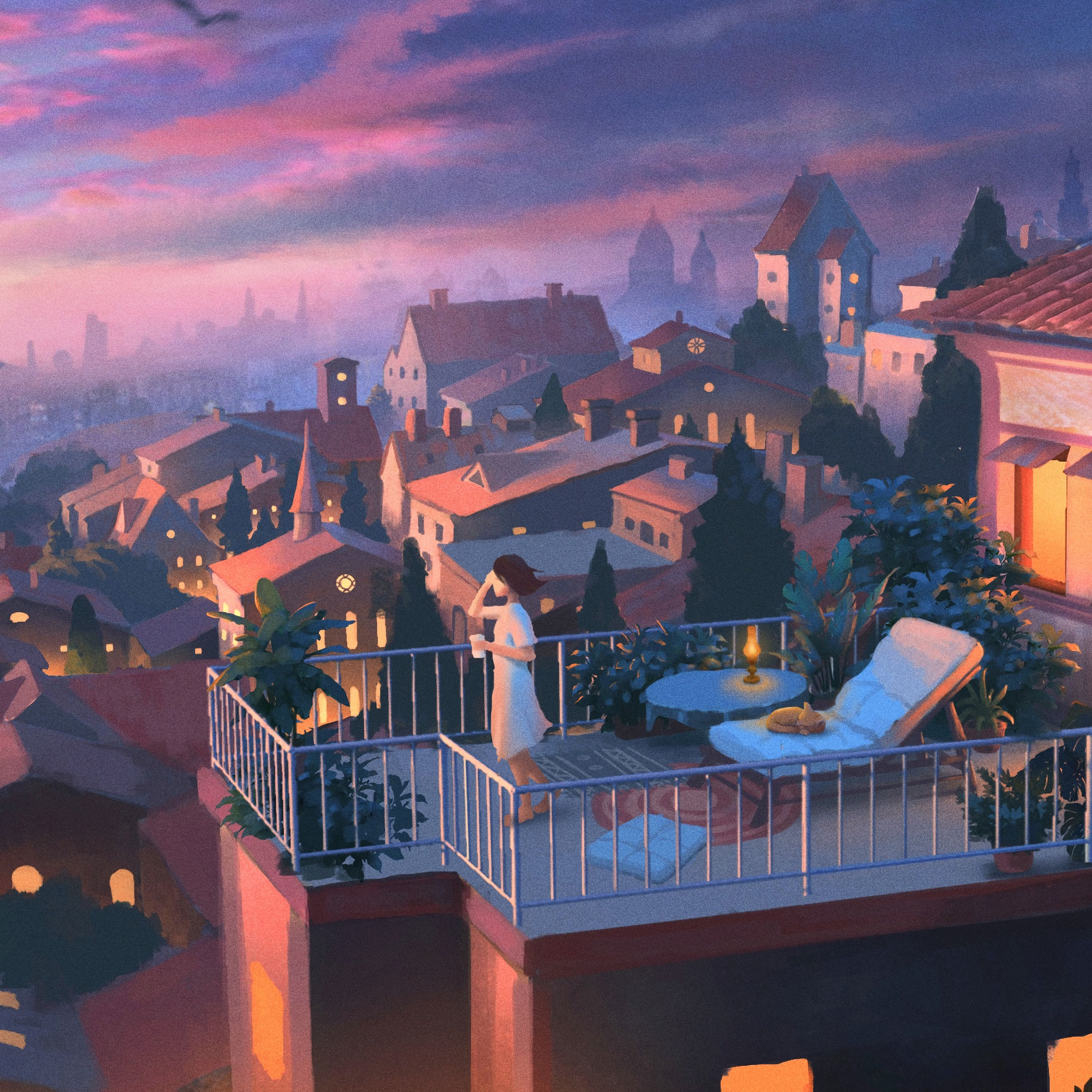 151939 Screensavers and Wallpapers City for phone. Download Evening, Art, City, Privacy, Seclusion, Girl, Balcony pictures for free