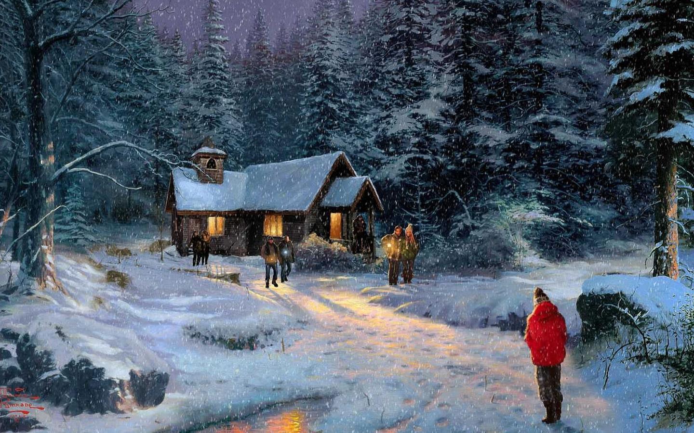 17415 скачать обои Пейзаж, Зима, Рисунки - заставки и картинки бесплатно