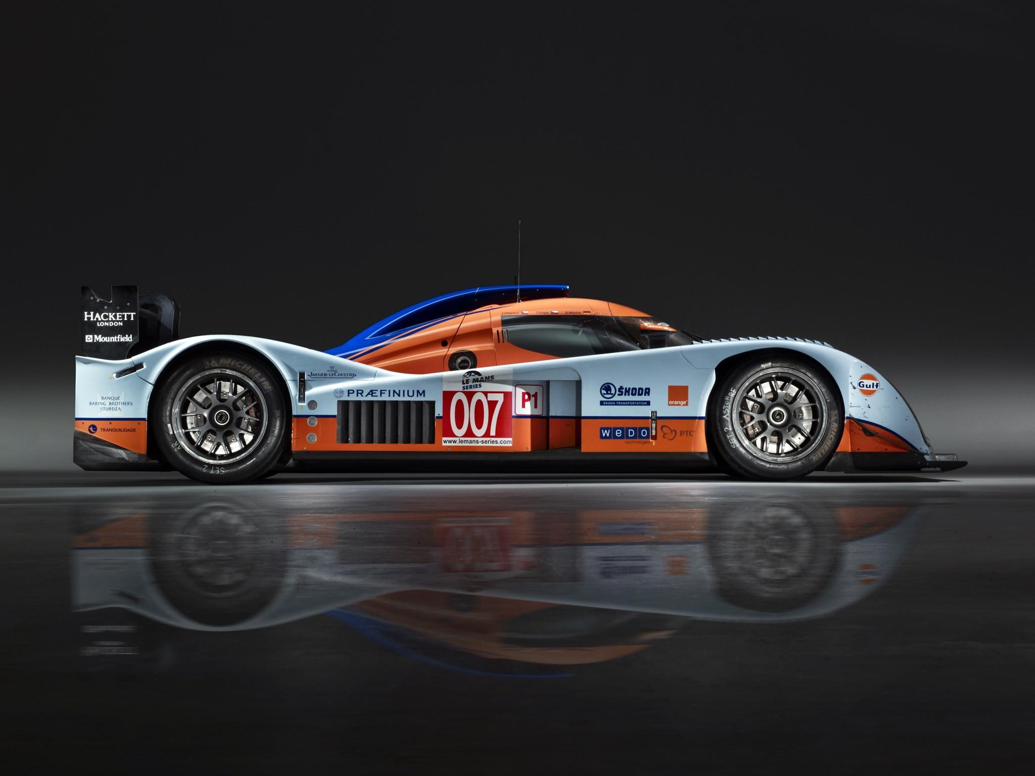 149099 скачать обои Спорт, Машины, Астон Мартин (Aston Martin), Тачки (Cars), Белый, Вид Сбоку, Оранжевый, 2009, Lmp1 - заставки и картинки бесплатно