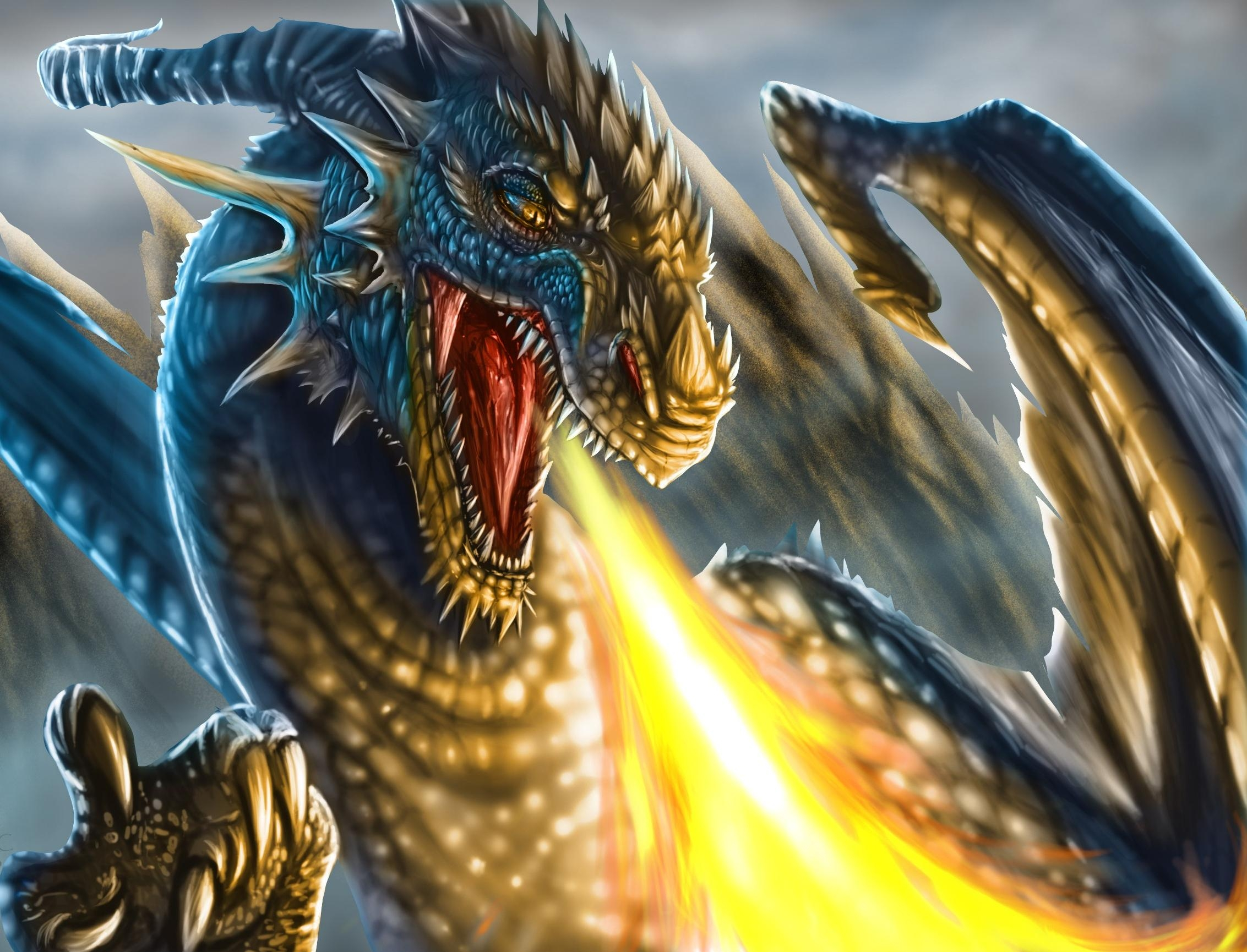 65846 download wallpaper Fantasy, Dragon, To Fall, Mouth, Claws, Fangs screensavers and pictures for free