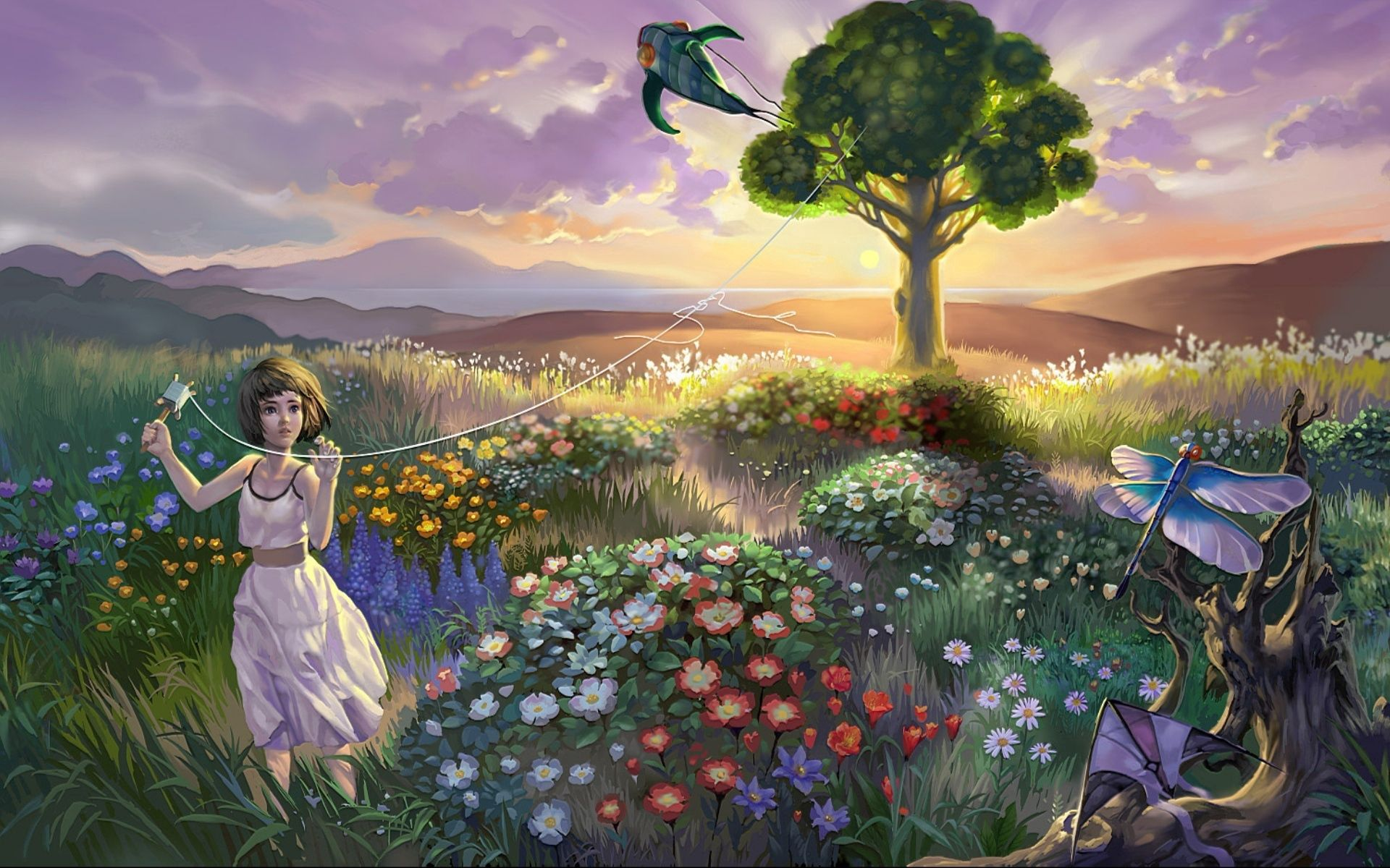 63327 download wallpaper Landscape, Flowers, Birds, Grass, Art, Girl, Child, Kite screensavers and pictures for free