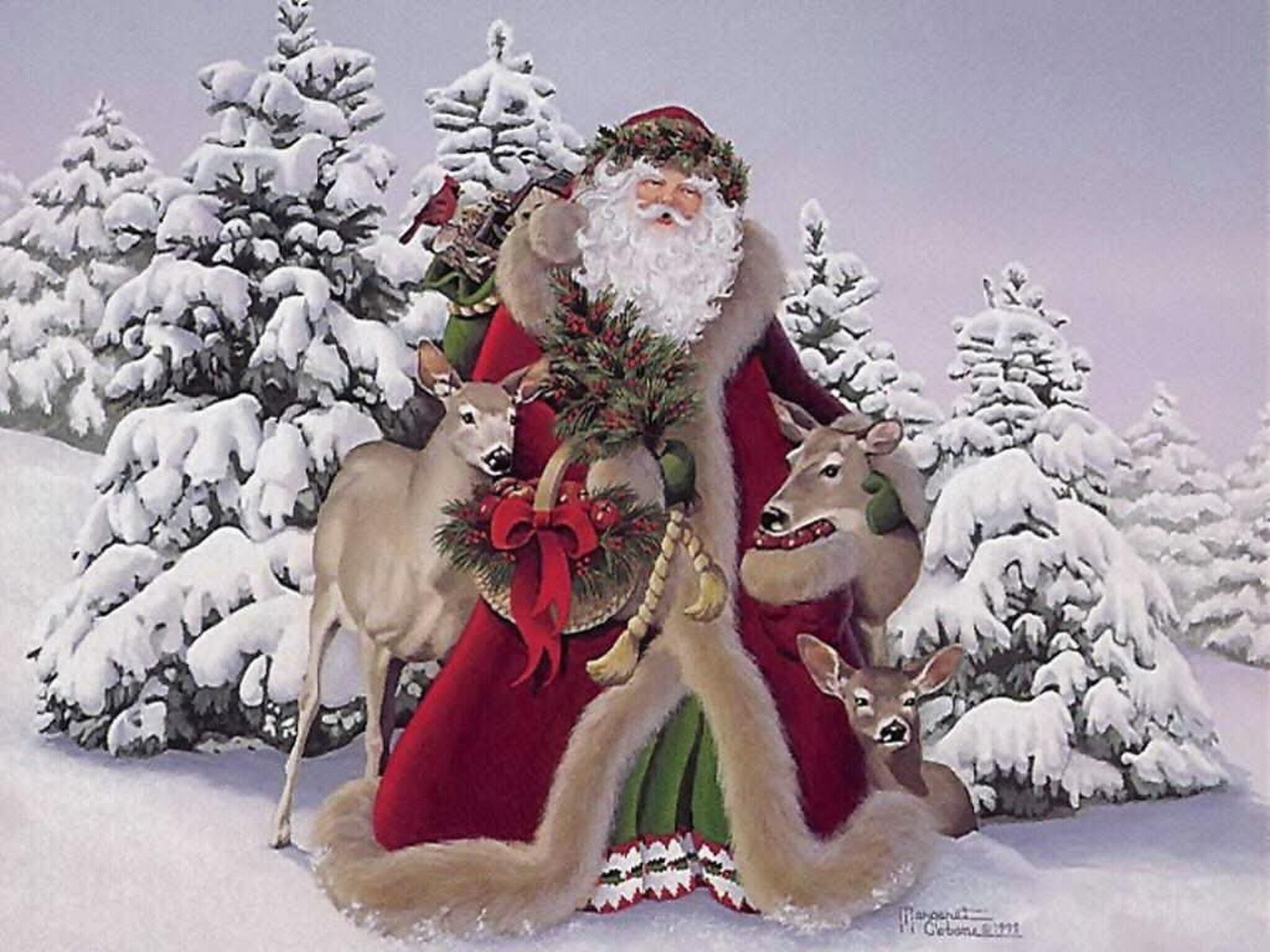 1672 скачать обои Праздники, Зима, Новый Год (New Year), Дед Мороз, Санта Клаус (Santa Claus), Рождество (Christmas, Xmas), Рисунки - заставки и картинки бесплатно