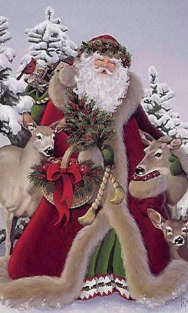 1672 télécharger le fond d'écran Fêtes, Hiver, Nouvelle Année, Père-Noël, Père Noël, Noël, Dessins - économiseurs d'écran et images gratuitement
