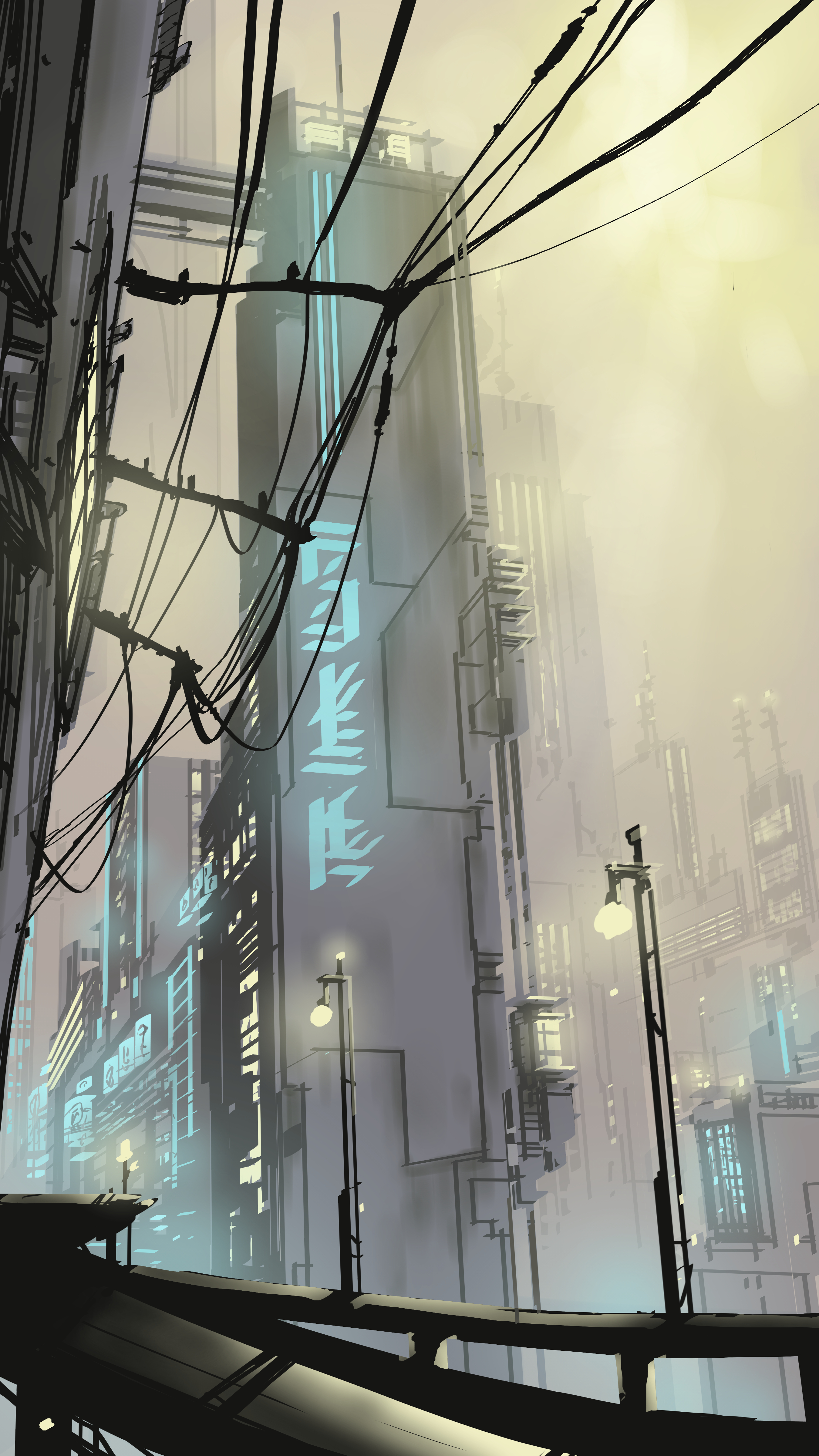 83794 download wallpaper Vector, Art, City, Building, Lights, Lanterns, Wires, Wire screensavers and pictures for free