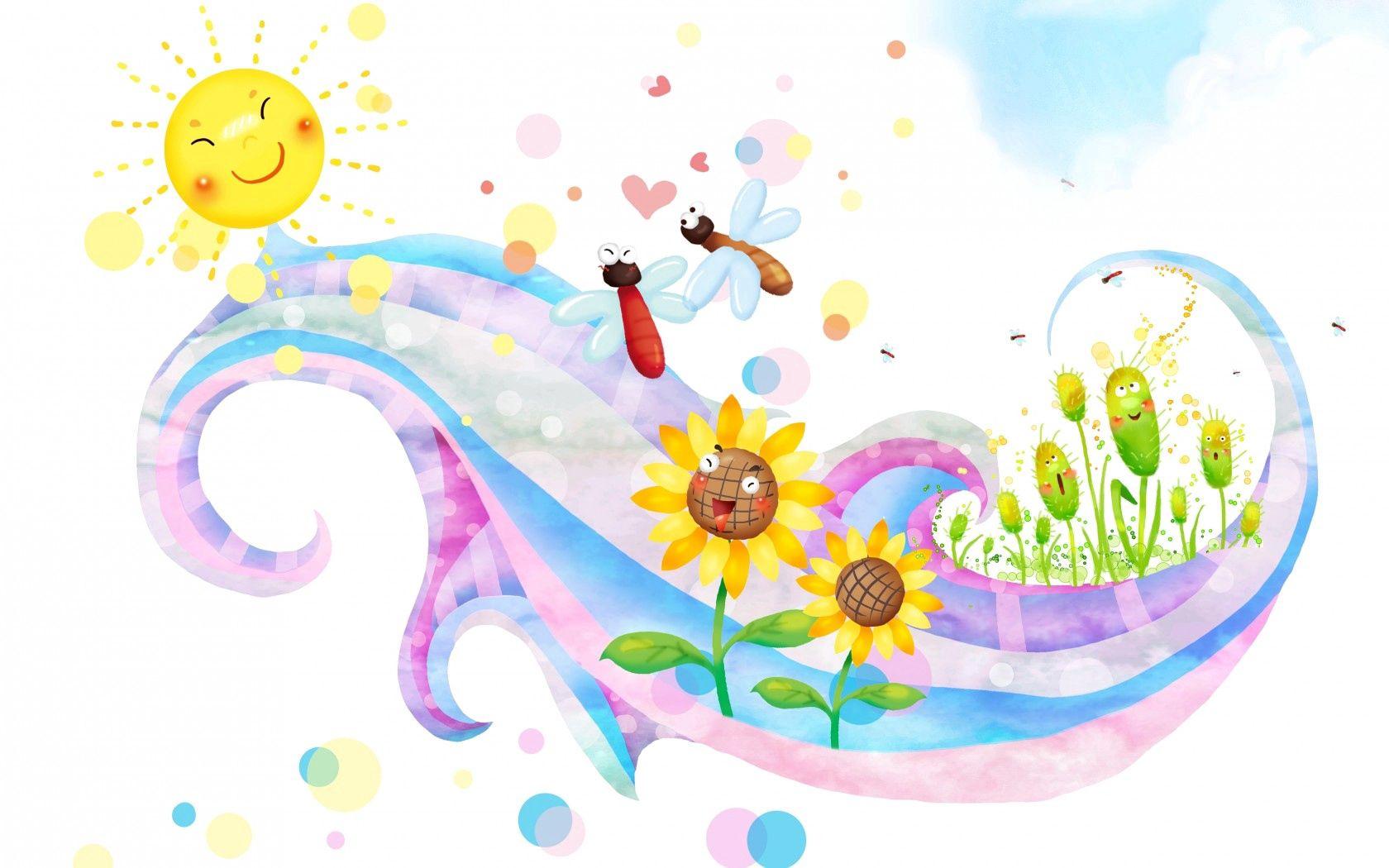 116061 скачать обои Абстракция, Бабочки, Цветы, Солнце, Завиток, Улыбки, Детские - заставки и картинки бесплатно
