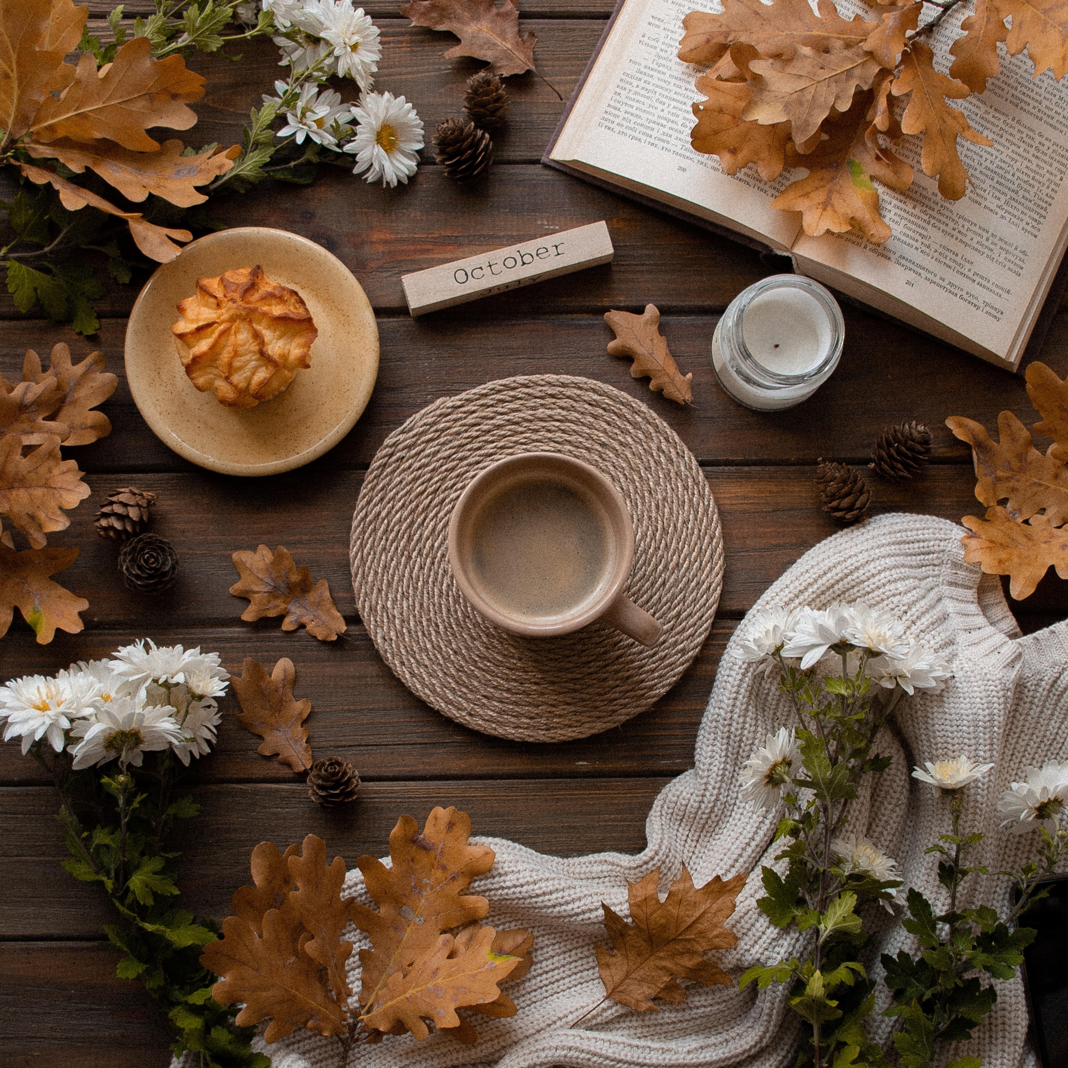 102331 Заставки и Обои Осень на телефон. Скачать Осень, Чашка, Разное, Цветы, Листья, Настроение, Напиток картинки бесплатно