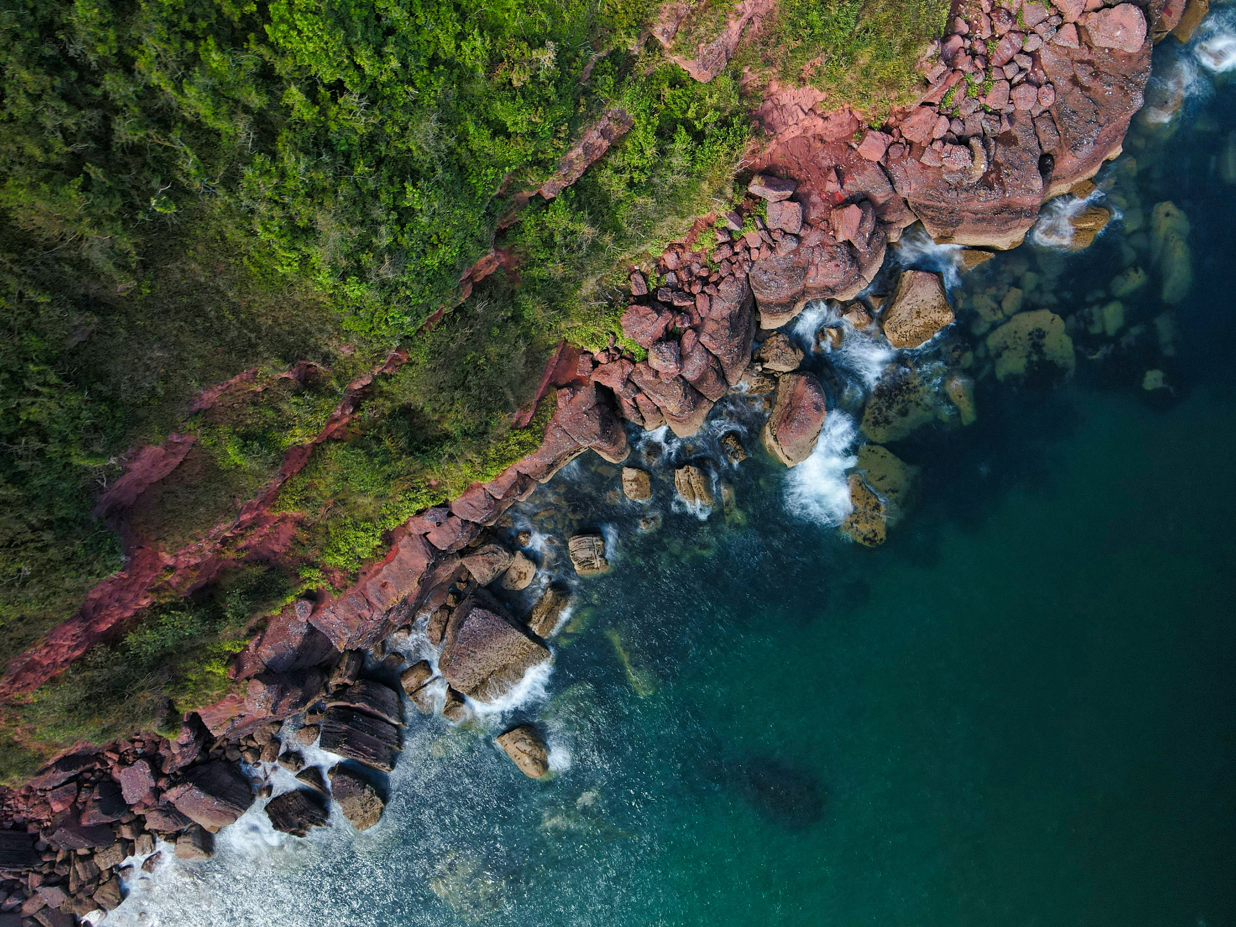 129811 download wallpaper Nature, Stones, Sea, Rocks, View From Above, Coast screensavers and pictures for free