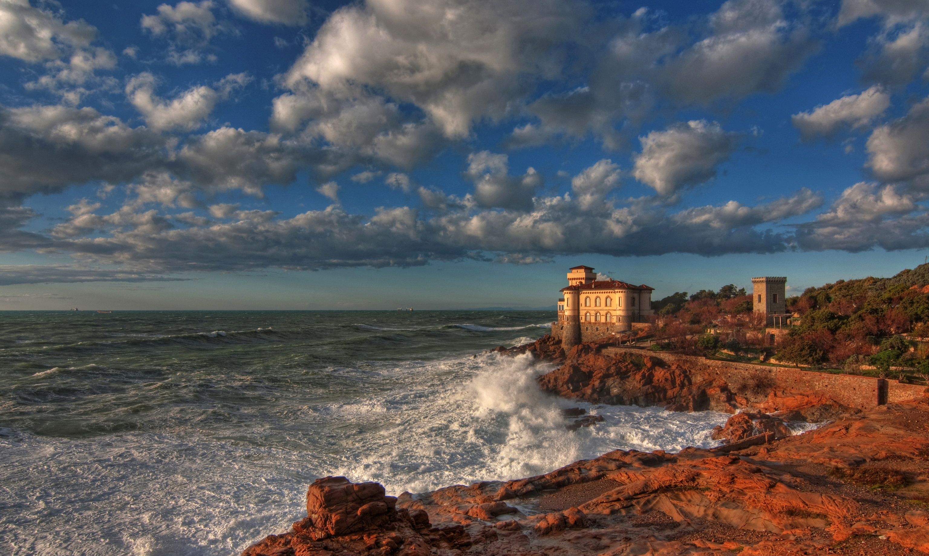 105406 Screensavers and Wallpapers Hdr for phone. Download Nature, Sky, Clouds, Italy, Lock, Coast, Hdr, Boccale Castle Livorno pictures for free