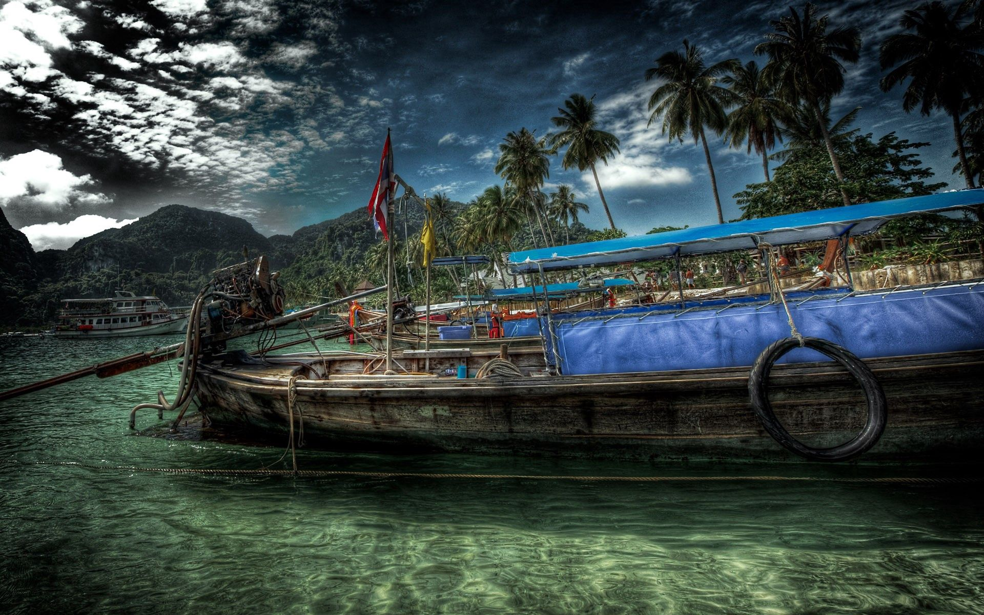 106217 Screensavers and Wallpapers Hdr for phone. Download Nature, Water, Sky, Shore, Bank, Hdr, Ship pictures for free