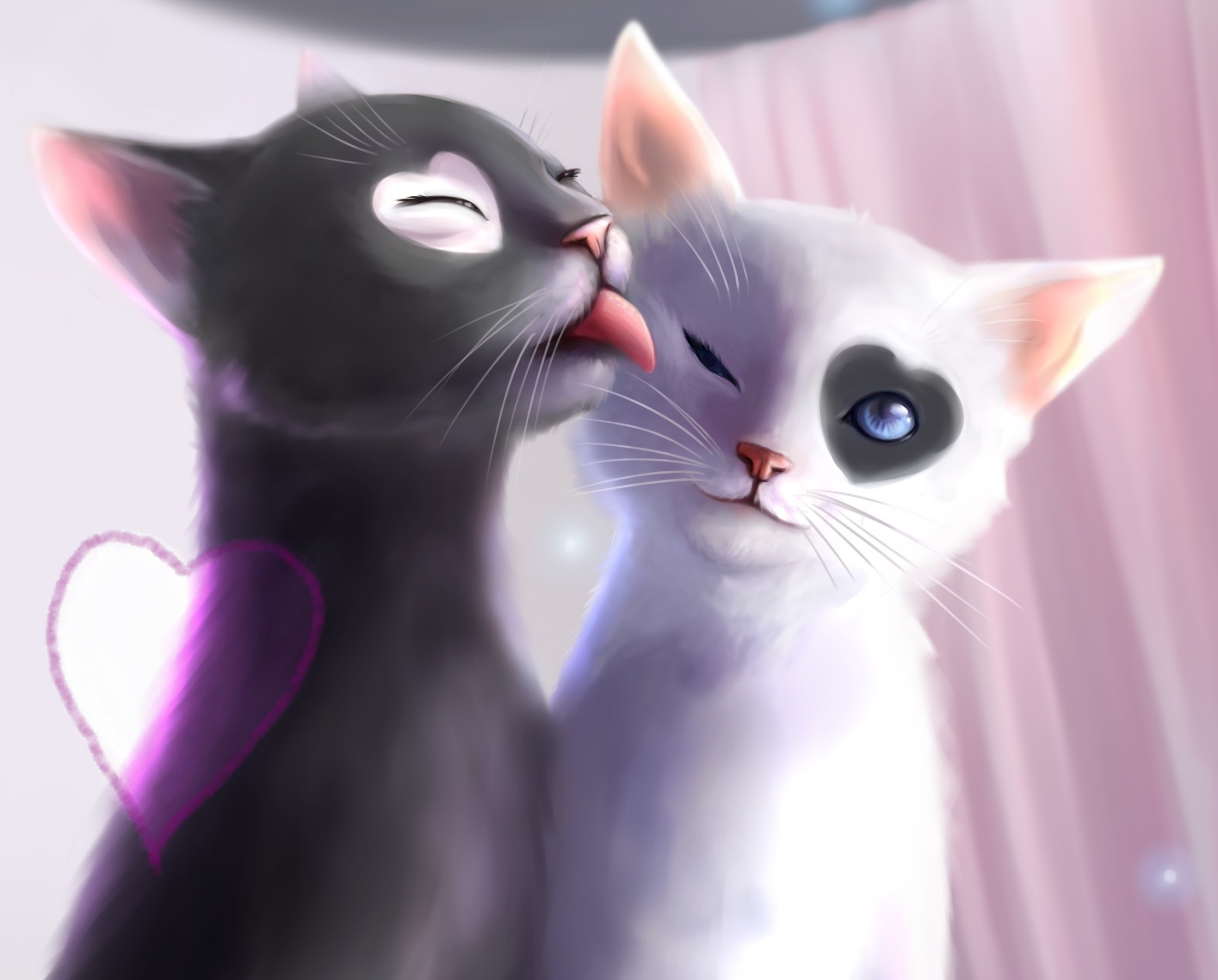 80252 download wallpaper Art, Cats, Tenderness, Kittens screensavers and pictures for free