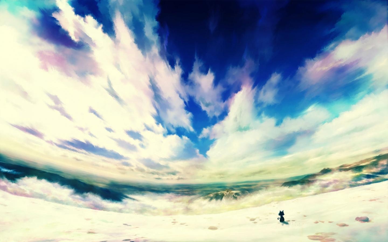 23937 скачать обои Пейзаж, Кошки (Коты, Котики), Небо, Море, Облака, Рисунки - заставки и картинки бесплатно