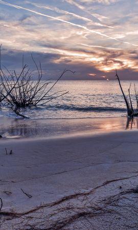134729 скачать обои Природа, Закат, Море, Берег, Пейзаж - заставки и картинки бесплатно