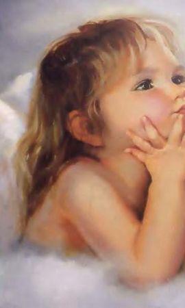 6051 скачать обои Дети, Ангелы, Рисунки - заставки и картинки бесплатно
