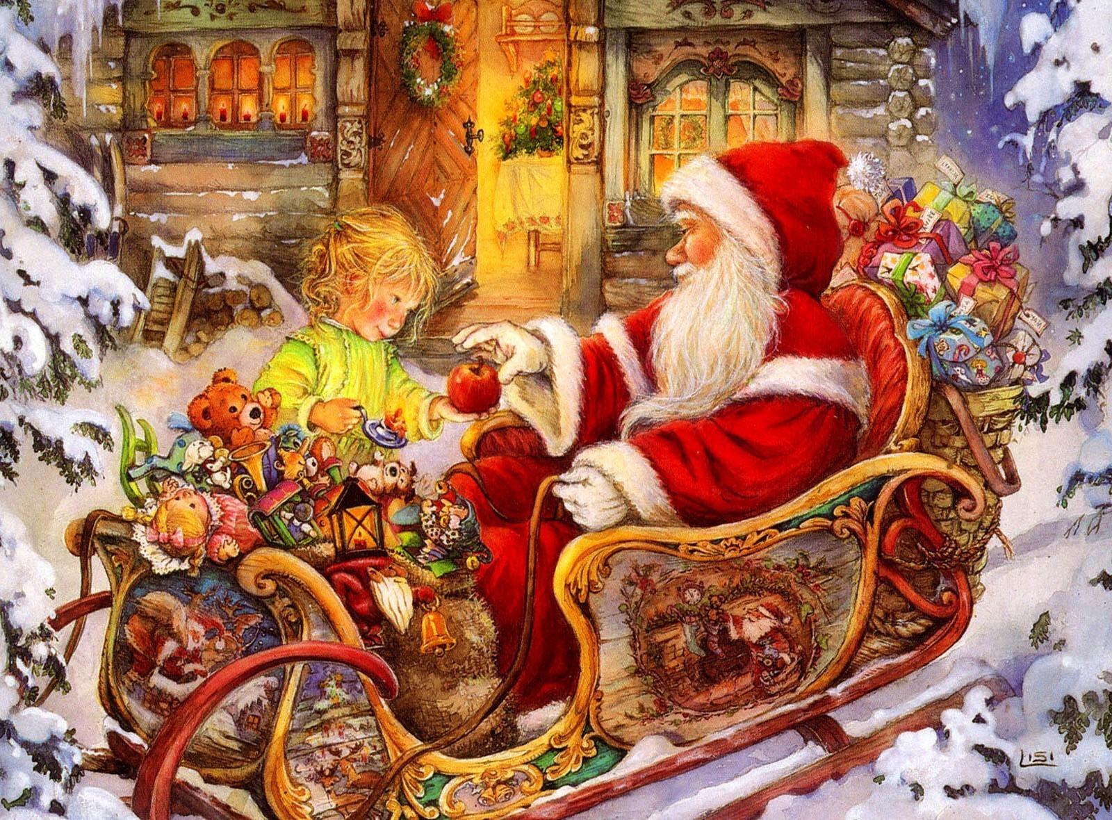 126221 descargar fondo de pantalla Vacaciones, Papá Noel, Trineo, Niño, Manzana, Presenta, Regalos, Día Festivo, Navidad: protectores de pantalla e imágenes gratis