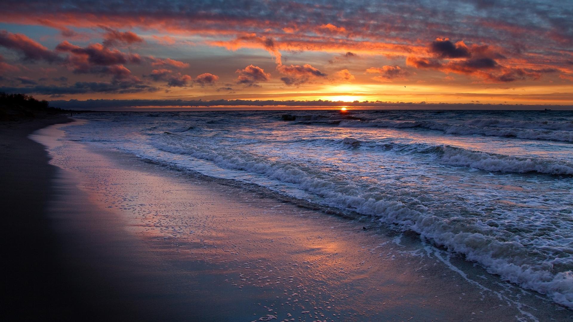 26014 免費下載壁紙 景观, 日落, 海, 云, 海滩 屏保和圖片