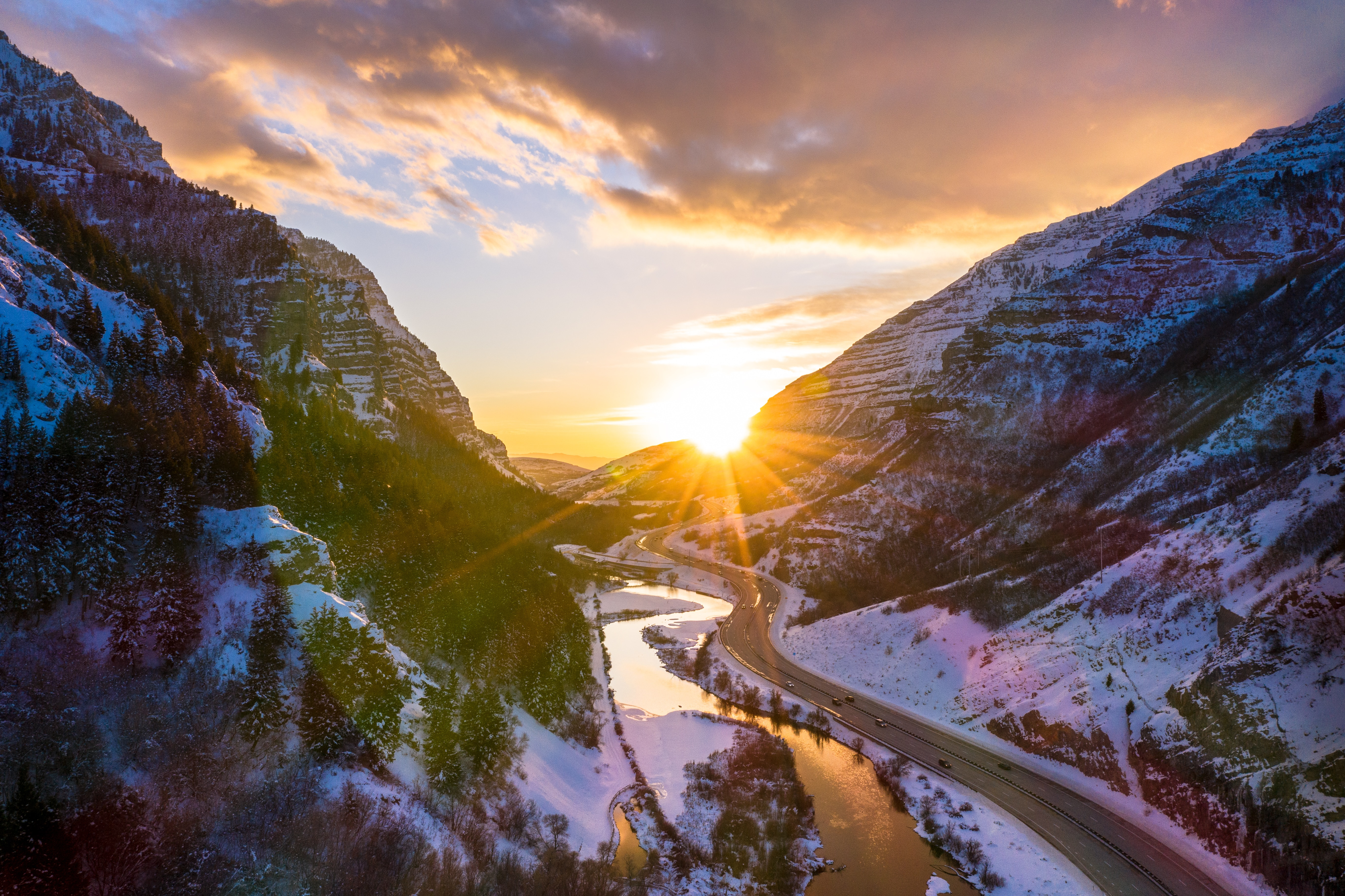 155605 download wallpaper Nature, Road, Rivers, Mountains, Sun, Landscape screensavers and pictures for free