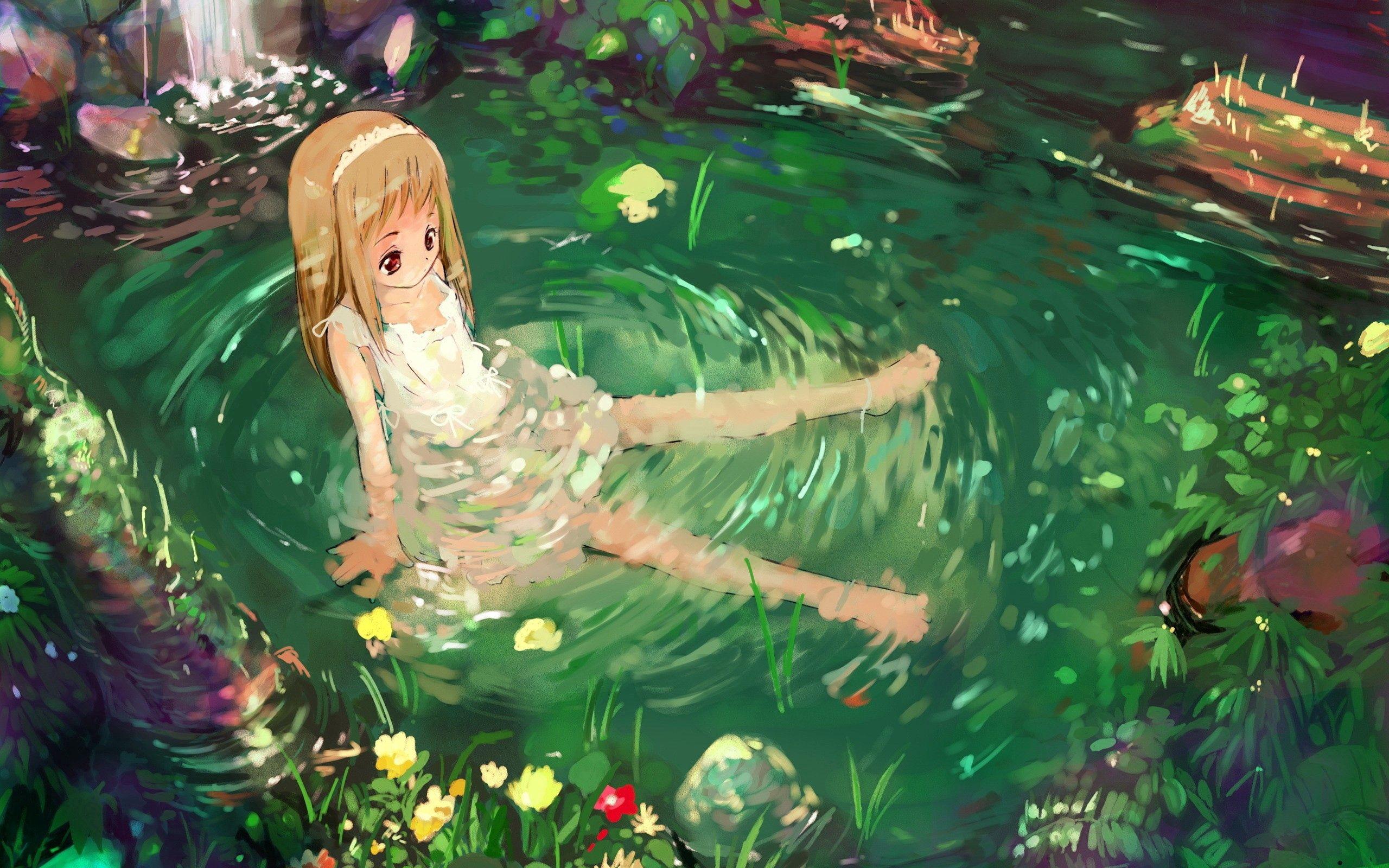 83526 скачать обои Аниме, Девочка, Природа, Вода - заставки и картинки бесплатно