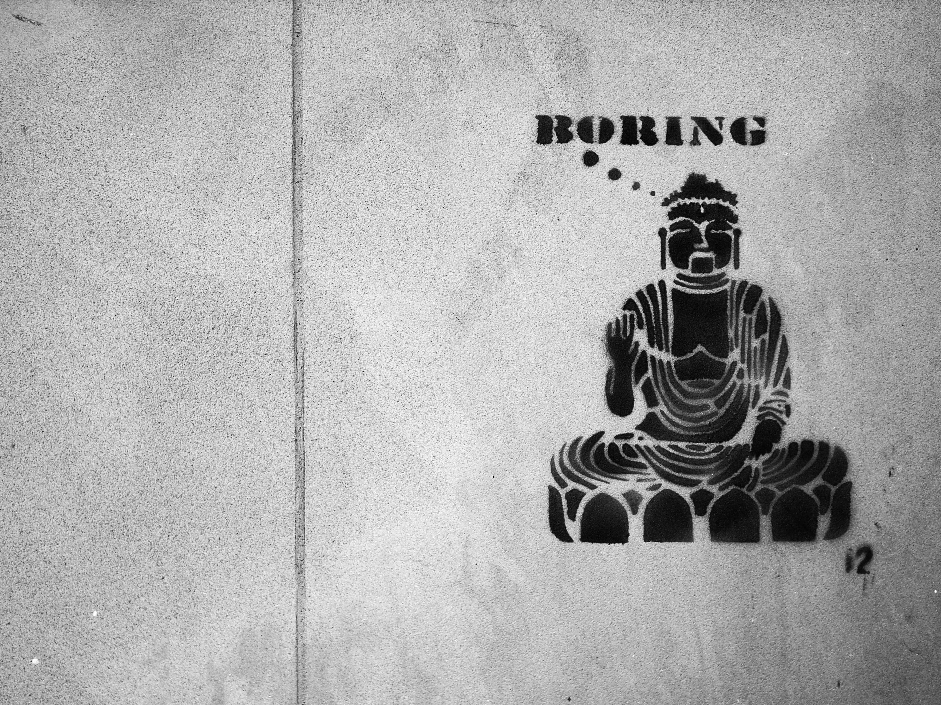 103659 скачать обои Арт, Будда, Буддизм, Boring, Граффити, Надпись, Чб - заставки и картинки бесплатно