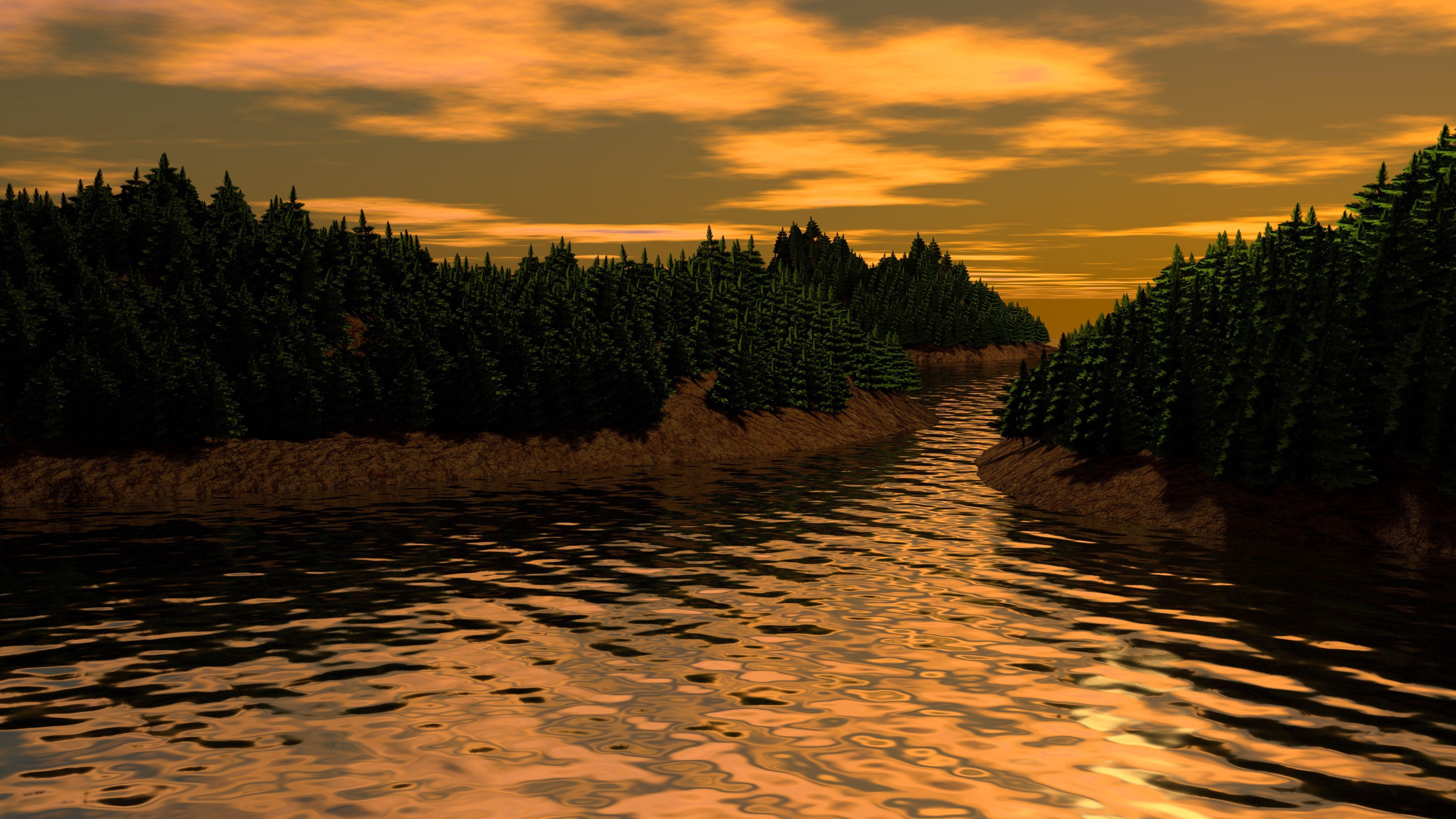 68400 download wallpaper 3D, Art, Rivers, Trees, Landscape screensavers and pictures for free