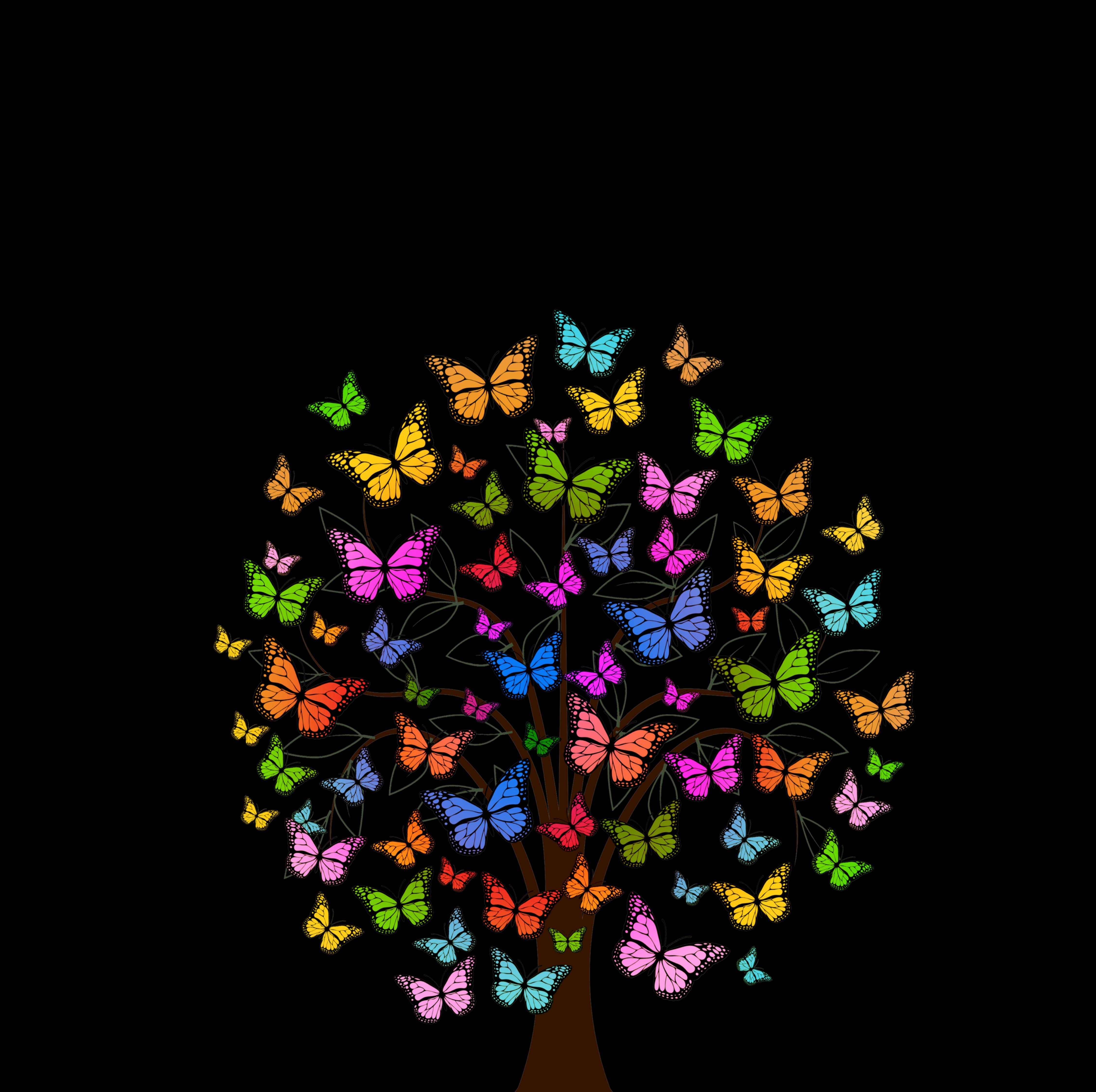 107267 скачать обои Бабочки, Узоры, Вектор, Разноцветный, Дерево - заставки и картинки бесплатно