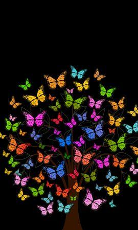 107267 descargar fondo de pantalla Vector, Mariposas, Madera, Árbol, Multicolor, Abigarrado, Patrones: protectores de pantalla e imágenes gratis