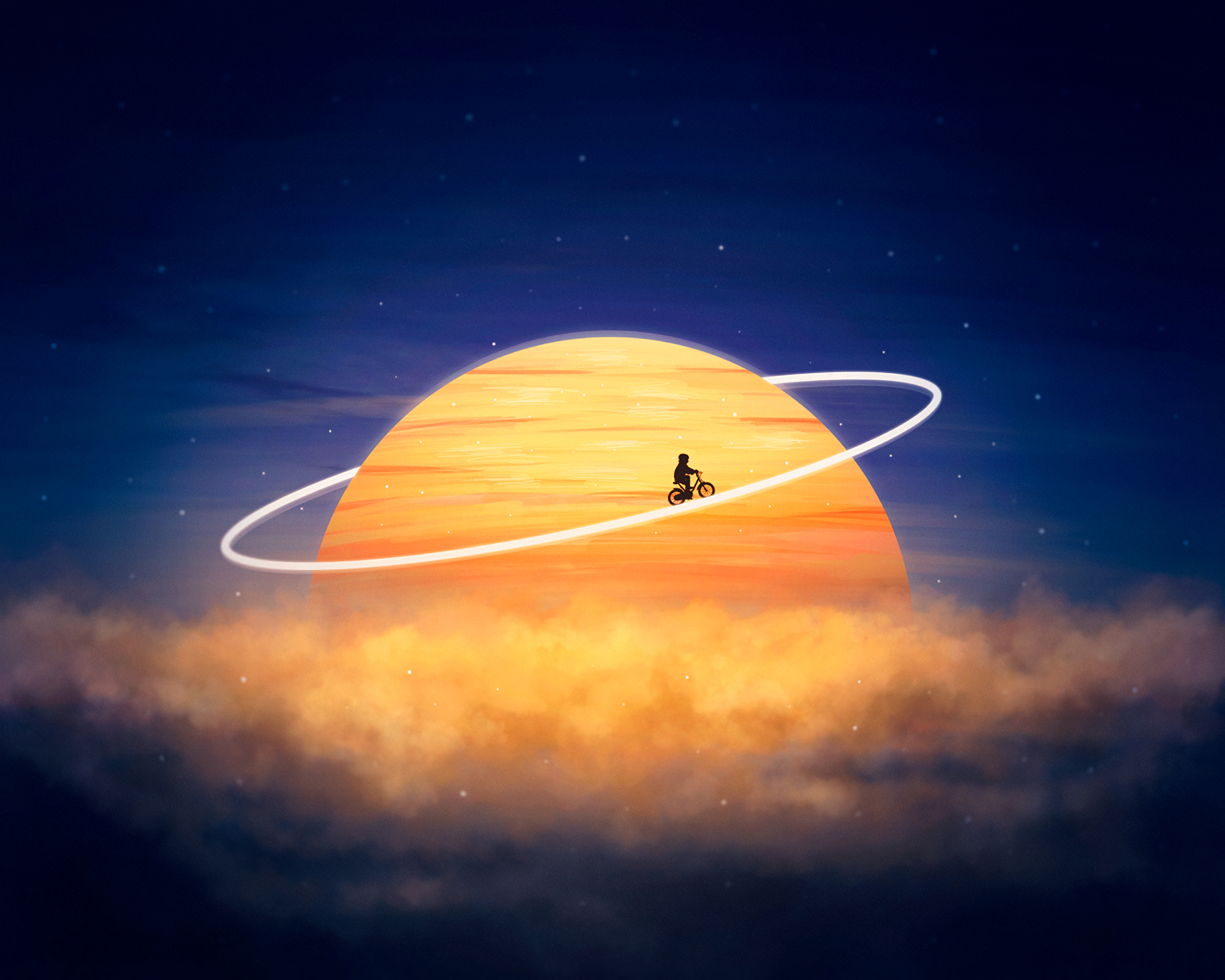 60691 download wallpaper Art, Silhouette, Planet, Orbit, Cyclist, Photoshop, Fantasy screensavers and pictures for free