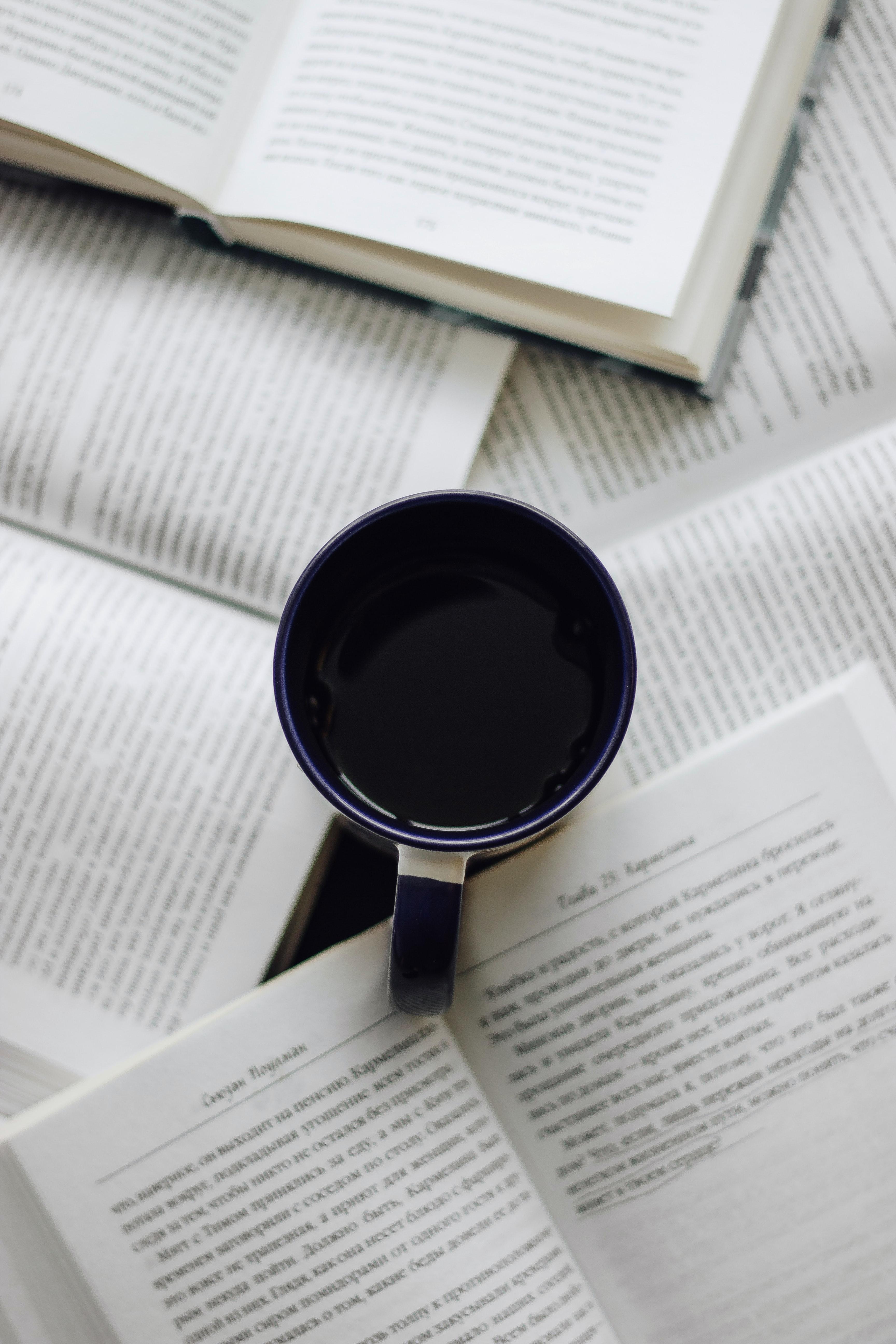 116837 скачать обои Разное, Чашка, Кофе, Книги, Текст - заставки и картинки бесплатно