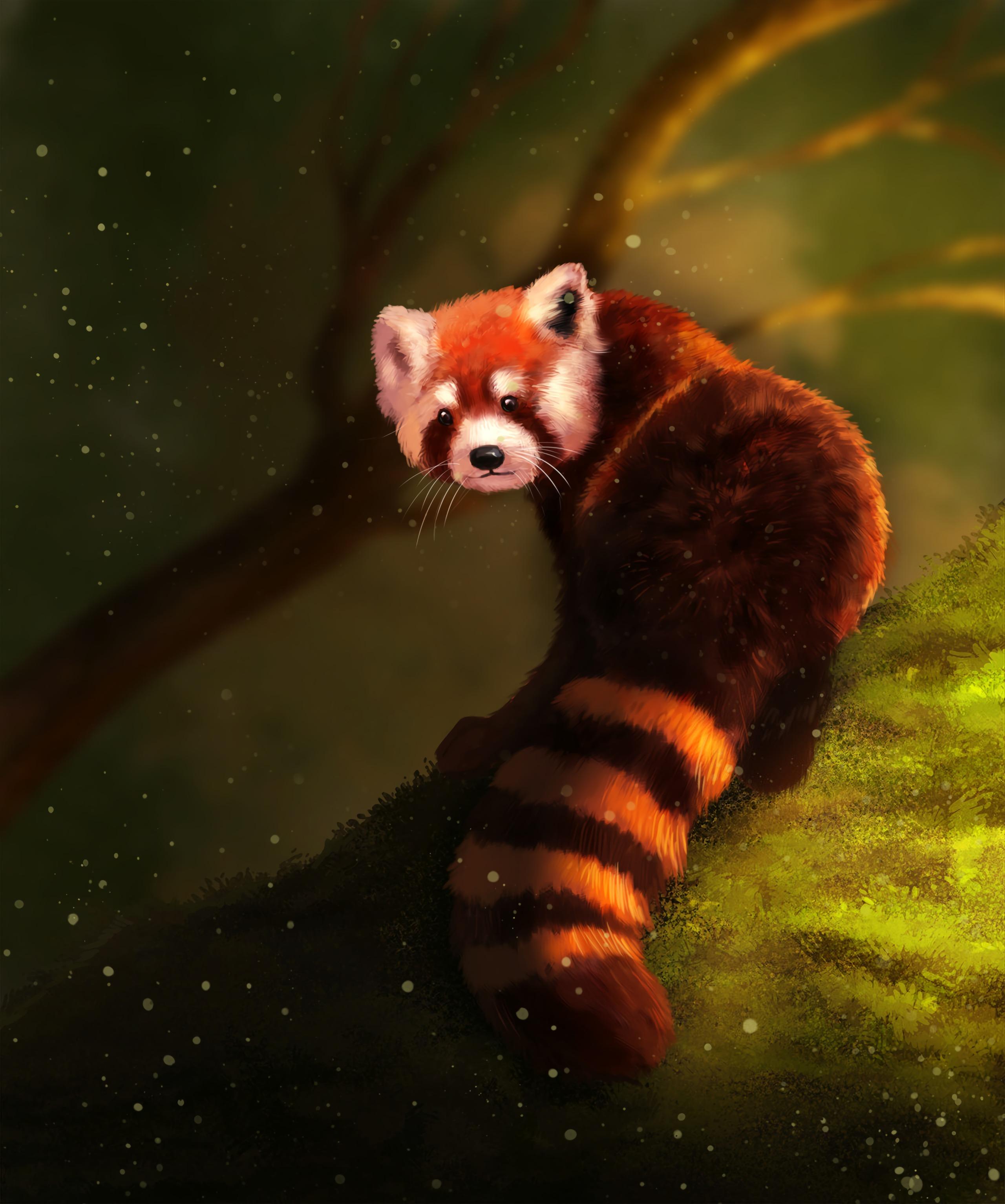 114548 Hintergrundbild herunterladen Tier, Kunst, Flauschige, Braun, Kleiner Panda - Bildschirmschoner und Bilder kostenlos