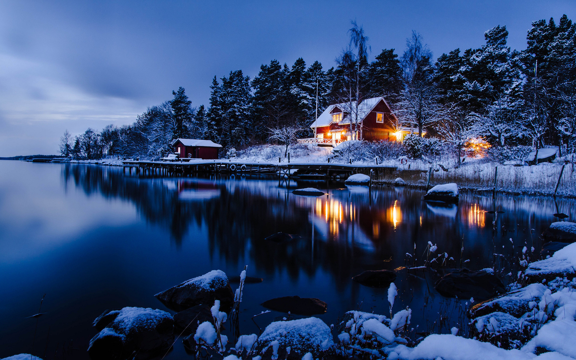 22041 download wallpaper Landscape, Winter, Houses, Lakes screensavers and pictures for free