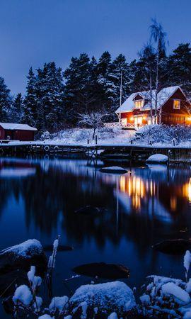 22041 скачать обои Пейзаж, Зима, Дома, Озера - заставки и картинки бесплатно