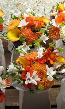 68793 télécharger le fond d'écran Fleurs, Dahlias, Callas, Calla, Freesia, Parcelle, Beaucoup, Roses, Bouquets - économiseurs d'écran et images gratuitement