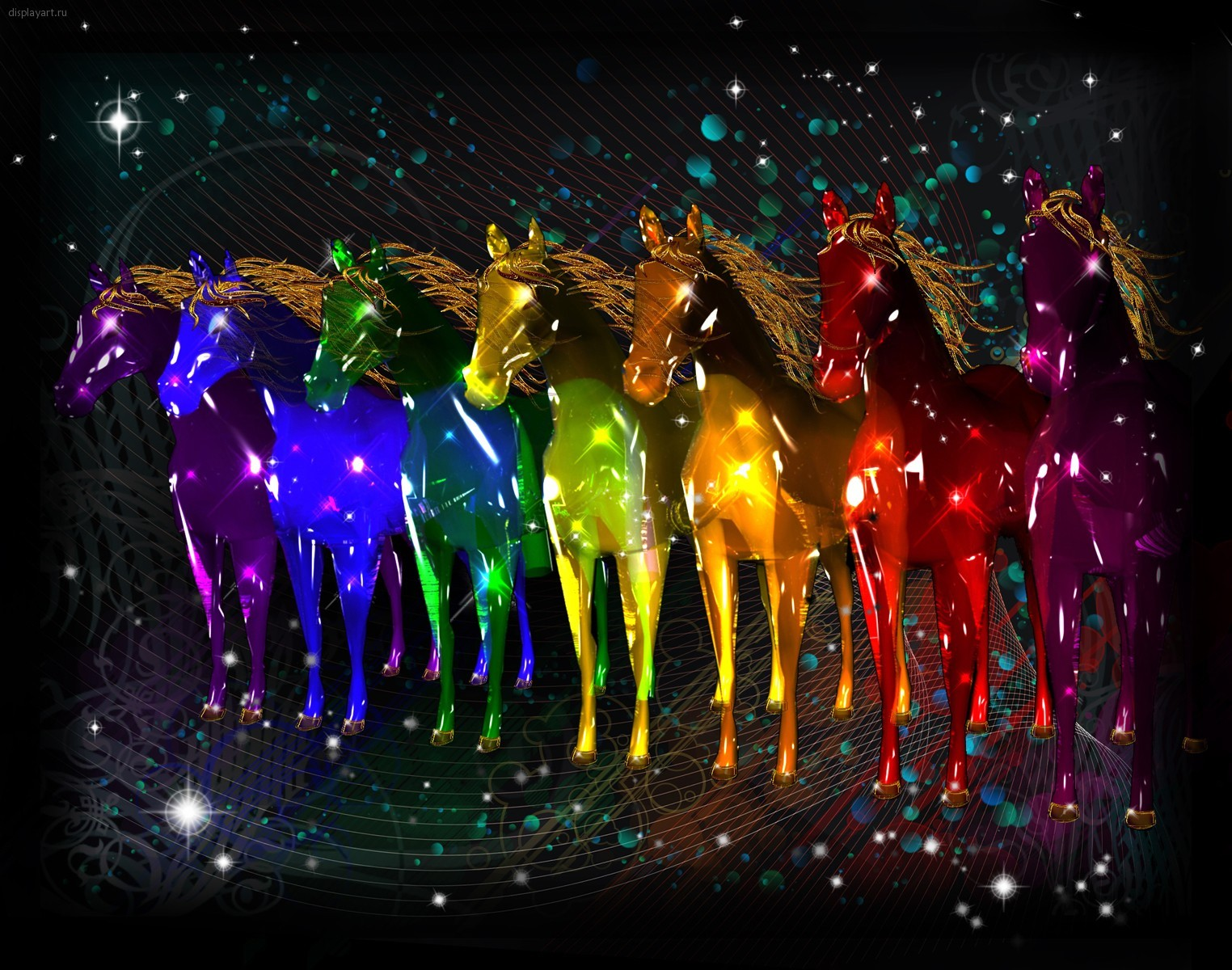 13823 download wallpaper Animals, Art, Horses screensavers and pictures for free