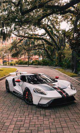 129470 завантажити Білий шпалери на телефон безкоштовно, Тачки, Ford Gt, Форд, Спорткар, Спортивний, Вид Збоку Білий картинки і заставки на мобільний