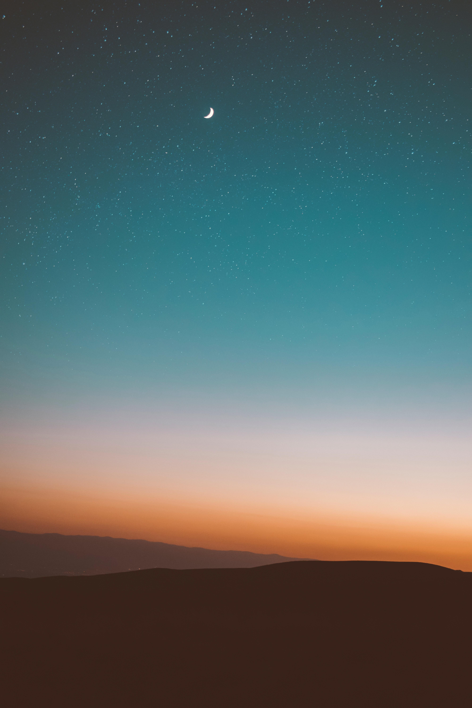 140909 Hintergrundbild herunterladen Mountains, Mond, Natur, Sky, Sterne - Bildschirmschoner und Bilder kostenlos