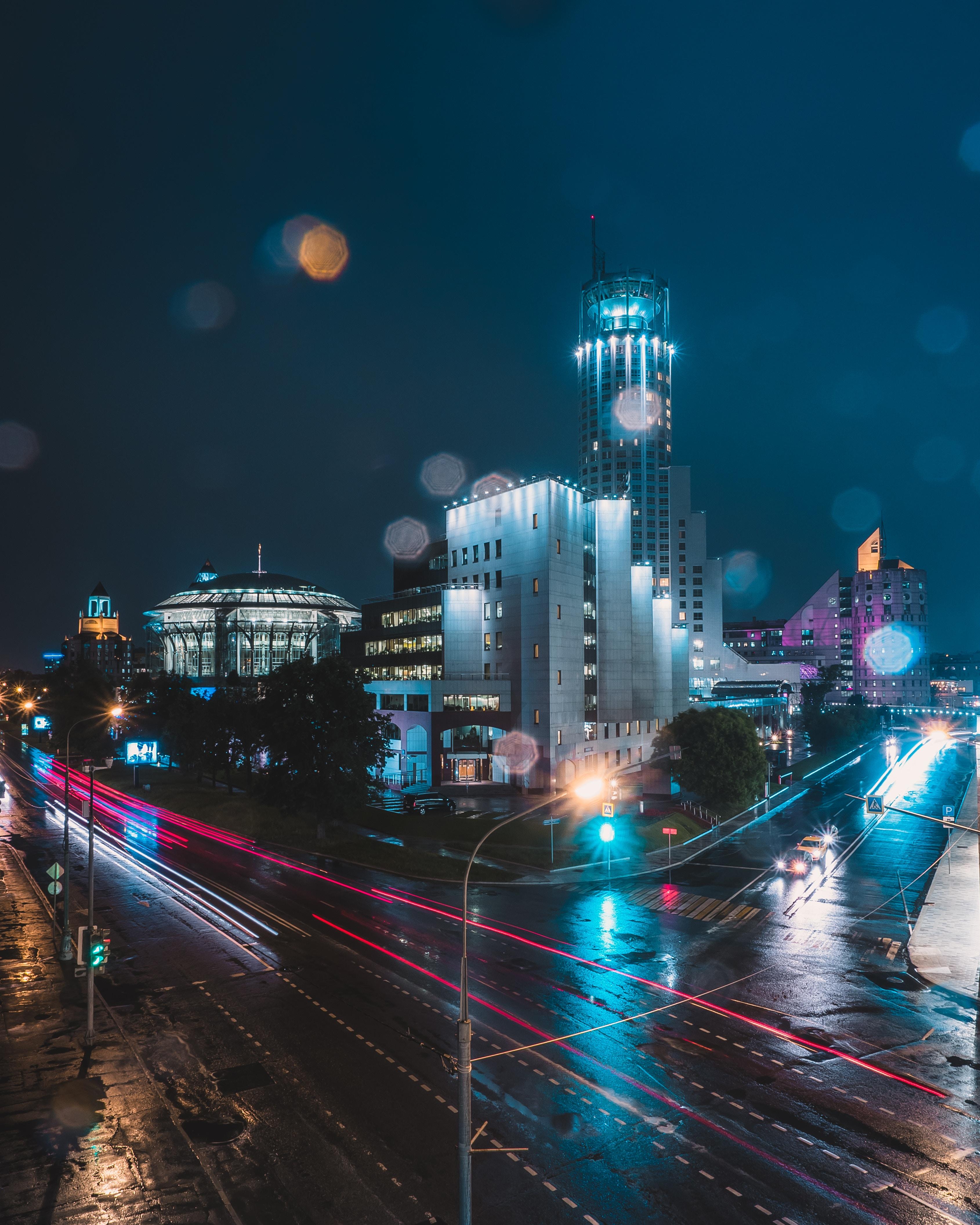 95567 скачать обои Ночной Город, Огни Города, Улица, Ночь, Москва, Россия, Блики, Боке, Города - заставки и картинки бесплатно