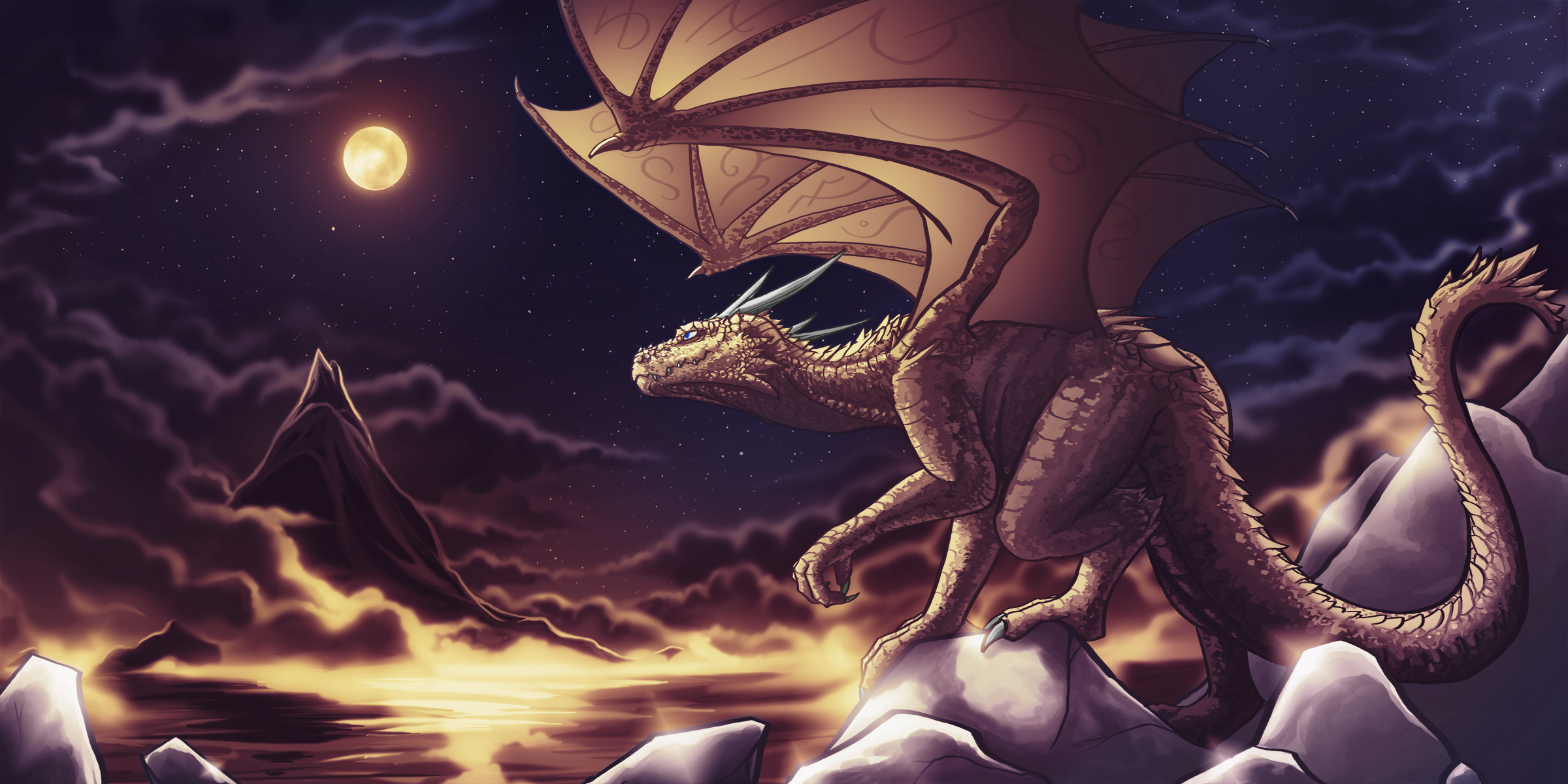 141620 download wallpaper Dragon, Clouds, Art, Sky, Night, Mountains screensavers and pictures for free