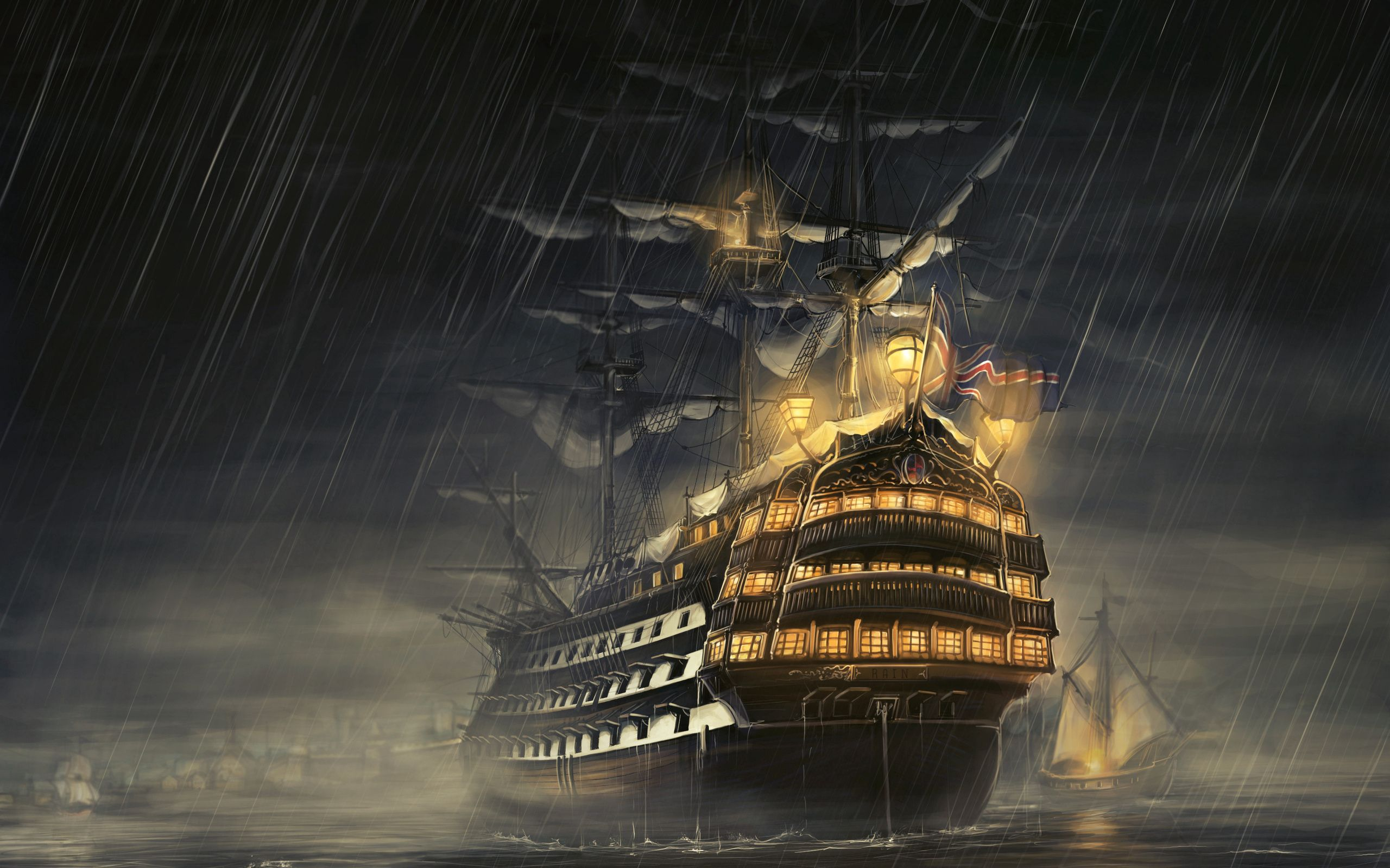 76749 download wallpaper Fantasy, Ships, Sea, Shine, Light, Rain screensavers and pictures for free