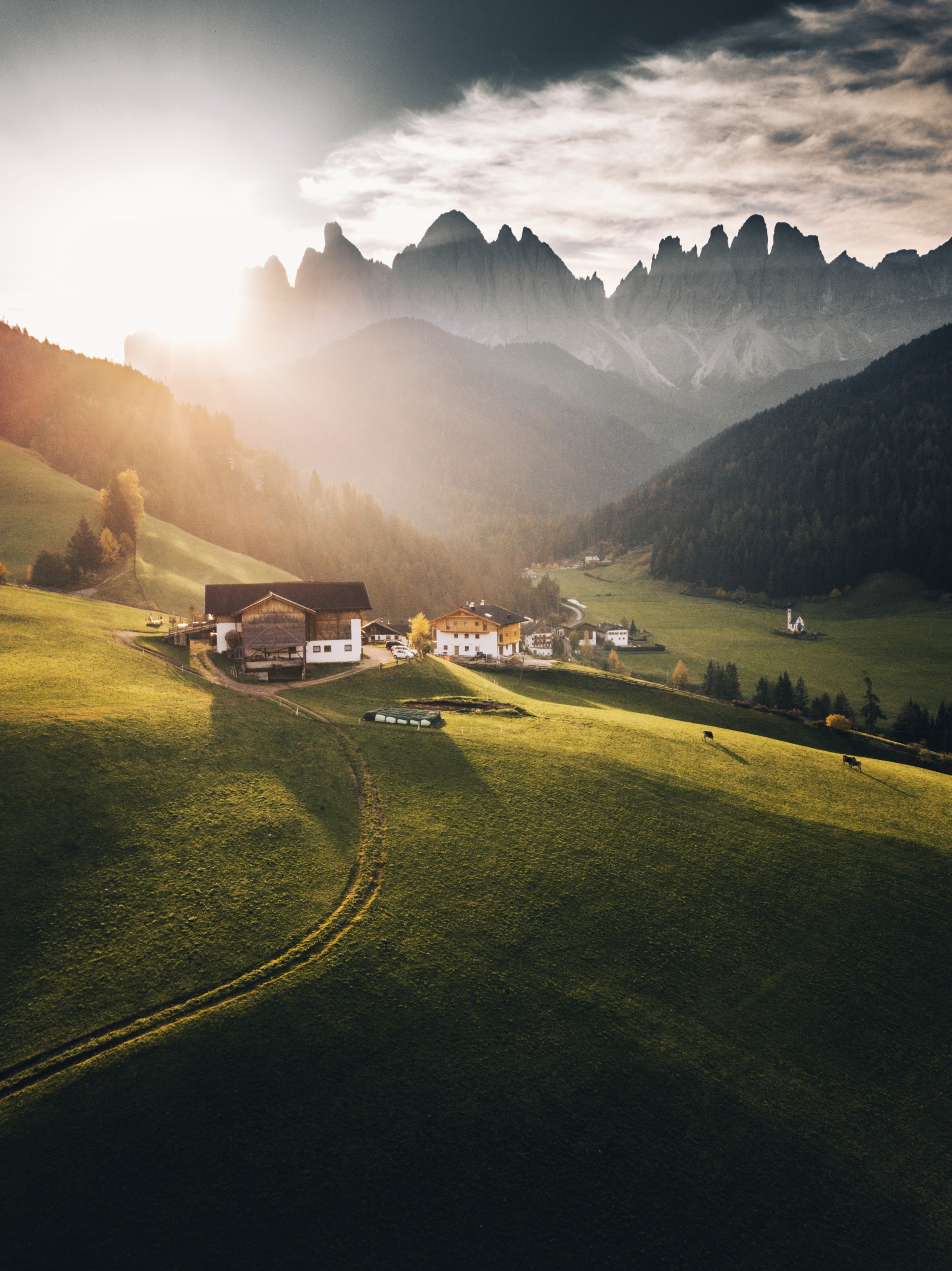 144117 Screensavers and Wallpapers Houses for phone. Download Houses, Dawn, Nature, Mountains, Landscape pictures for free