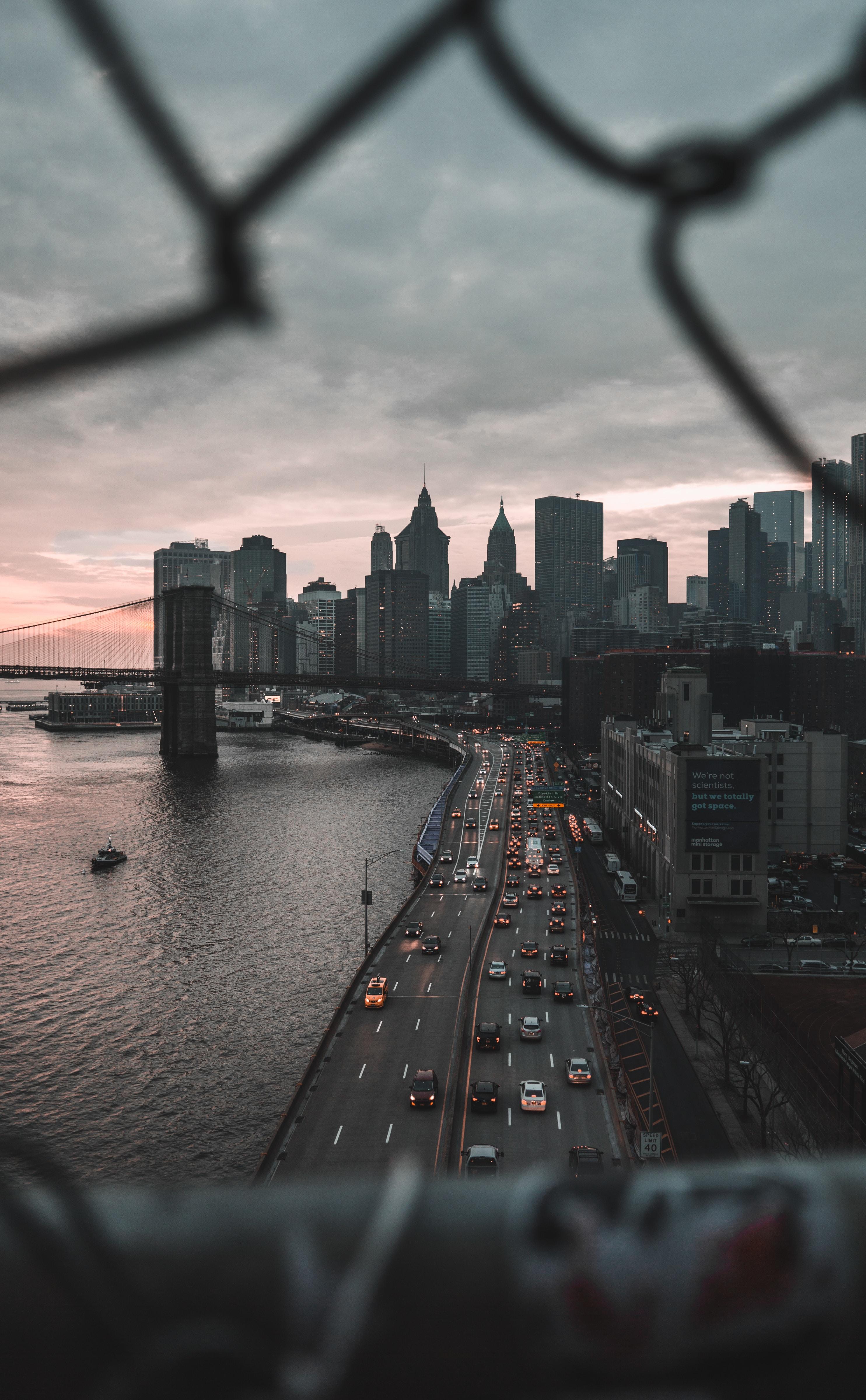 87640 скачать обои Архитектура, Города, Город, Здания, Побережье, Дорога, Нью-Йорк - заставки и картинки бесплатно