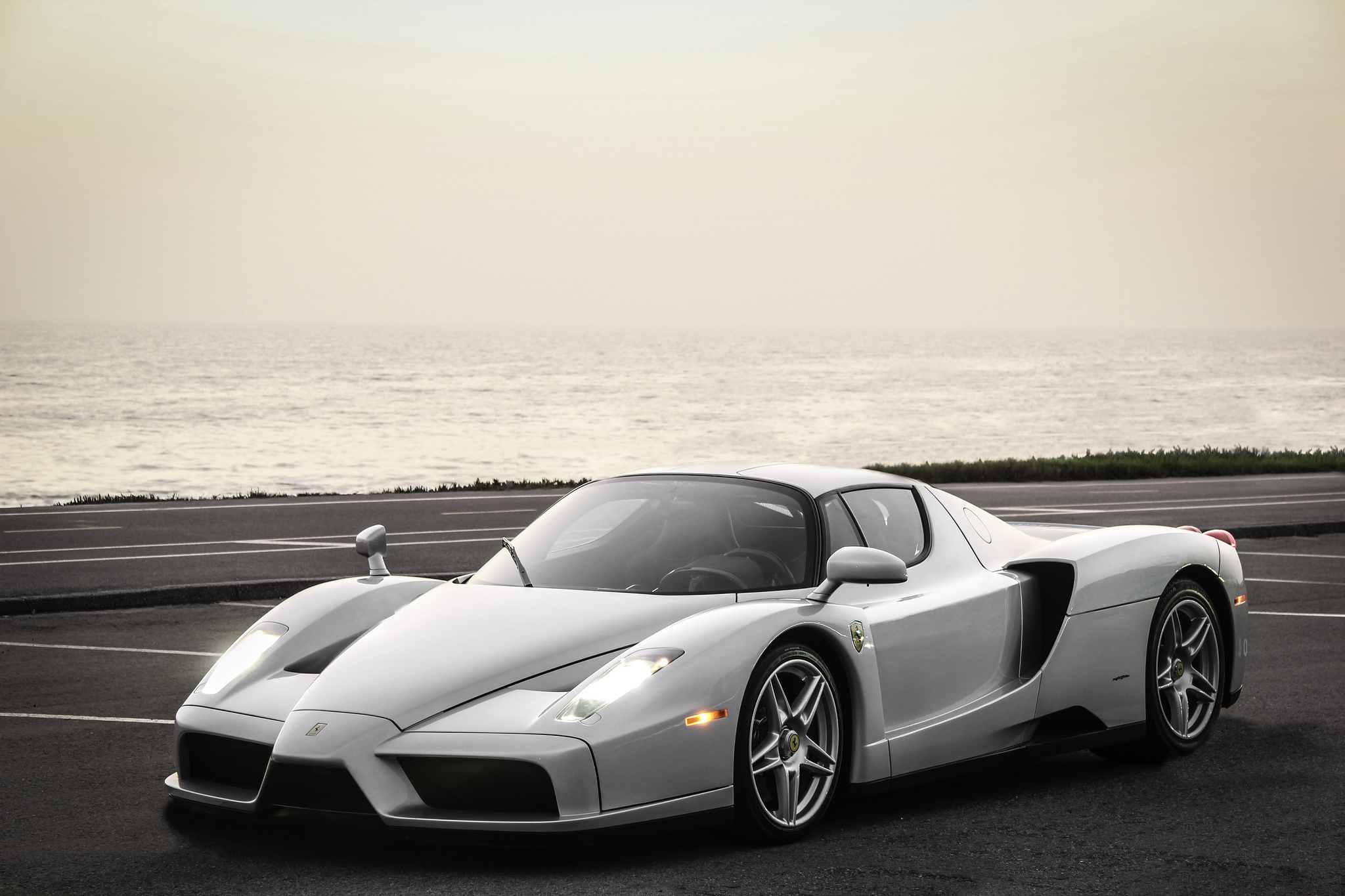 134900 Screensavers and Wallpapers Ferrari for phone. Download Background, Sea, Ferrari, Cars, Silver, Enzo pictures for free